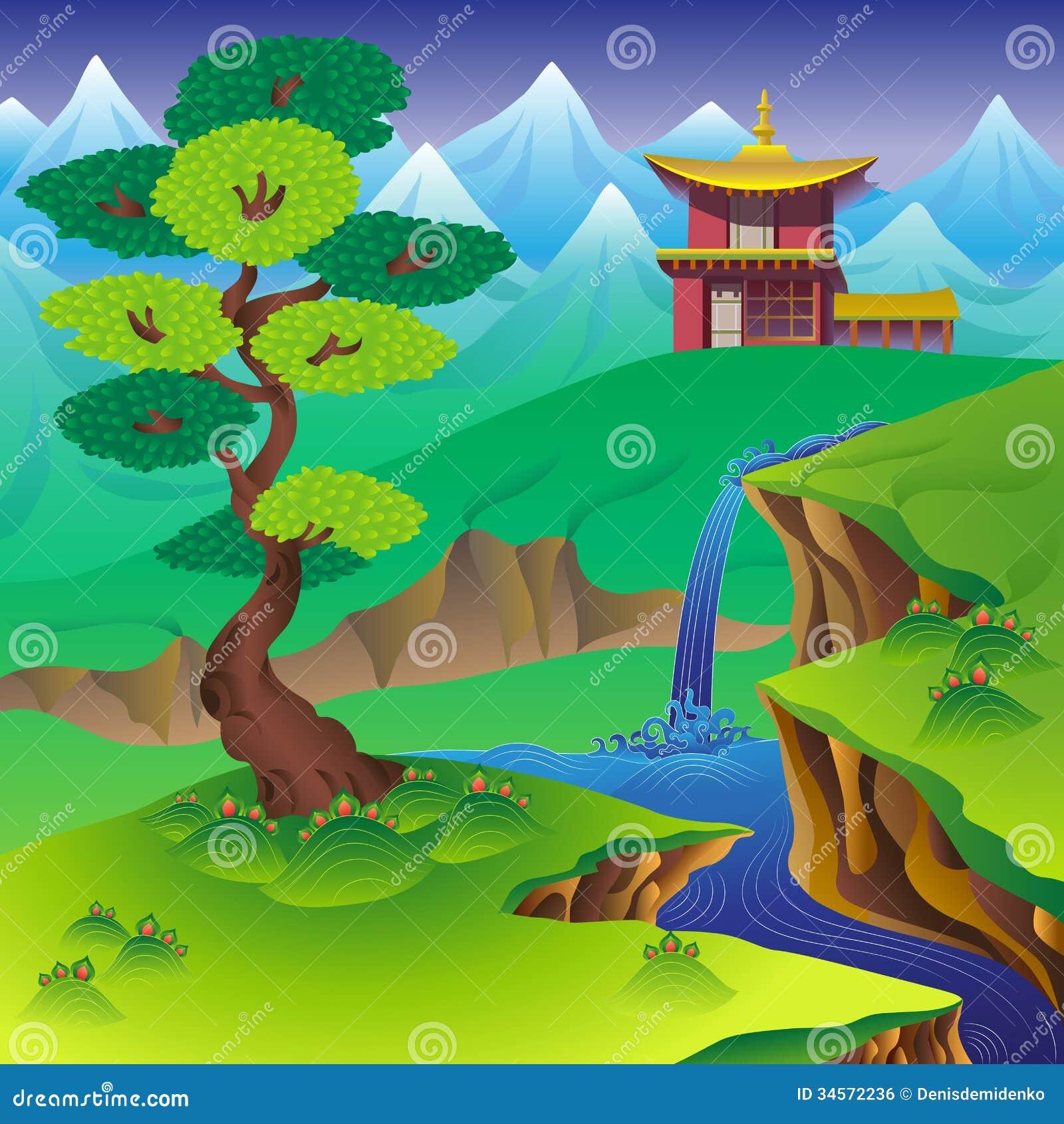 Chinese Landscape Royalty Free Stock Image - Image: 34572236