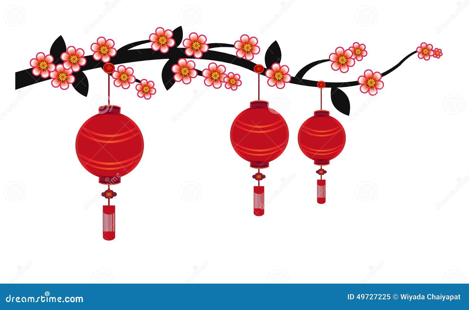 Decoration App Chinese Lantern Background Illustration Stock