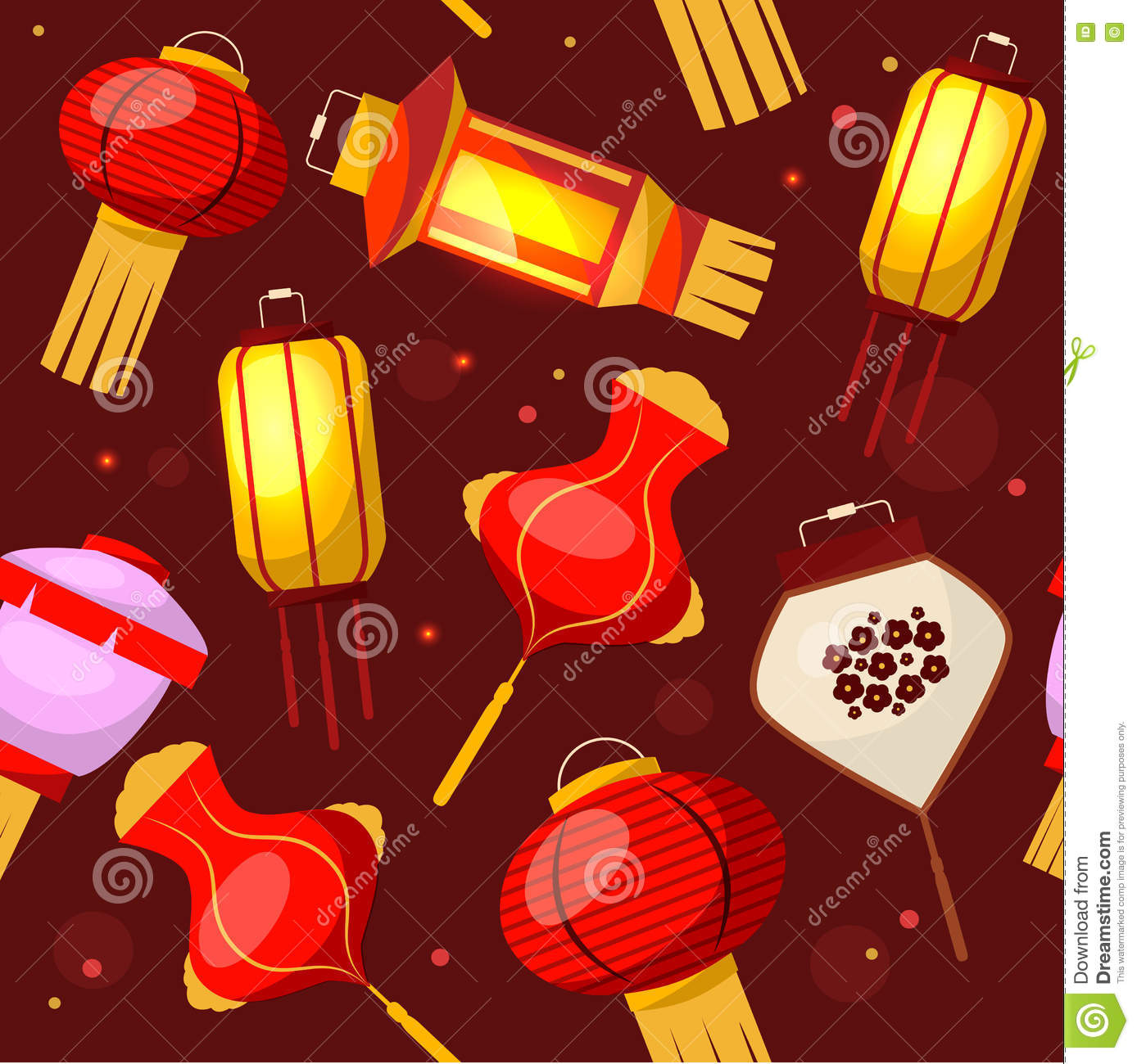 Chinese Lantern Background Pattern. Vector Stock Vector ...