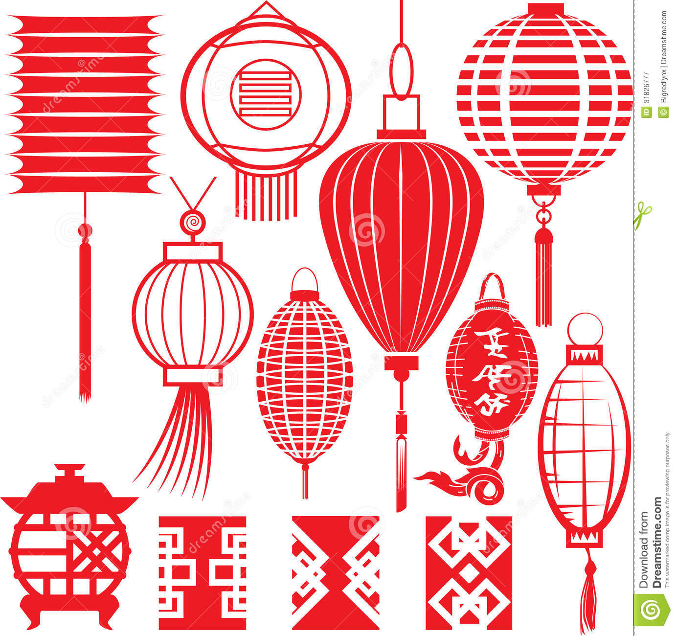 Chinese Lantern Collection stock vector. Illustration of ...