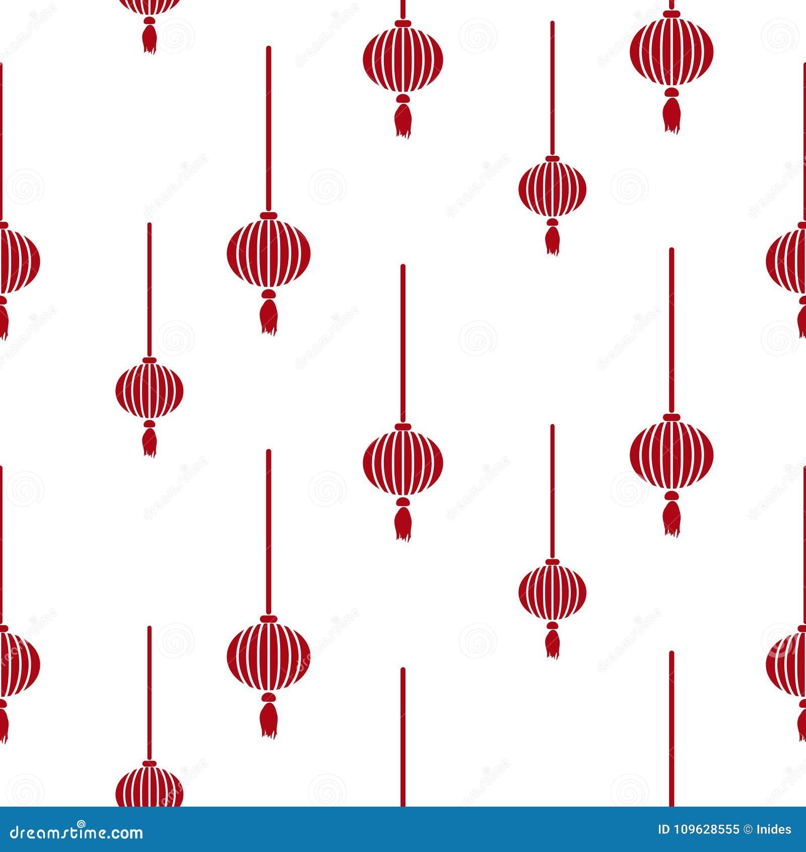 Chinese Lantern Simple Seamless Vector Pattern. Stock ...