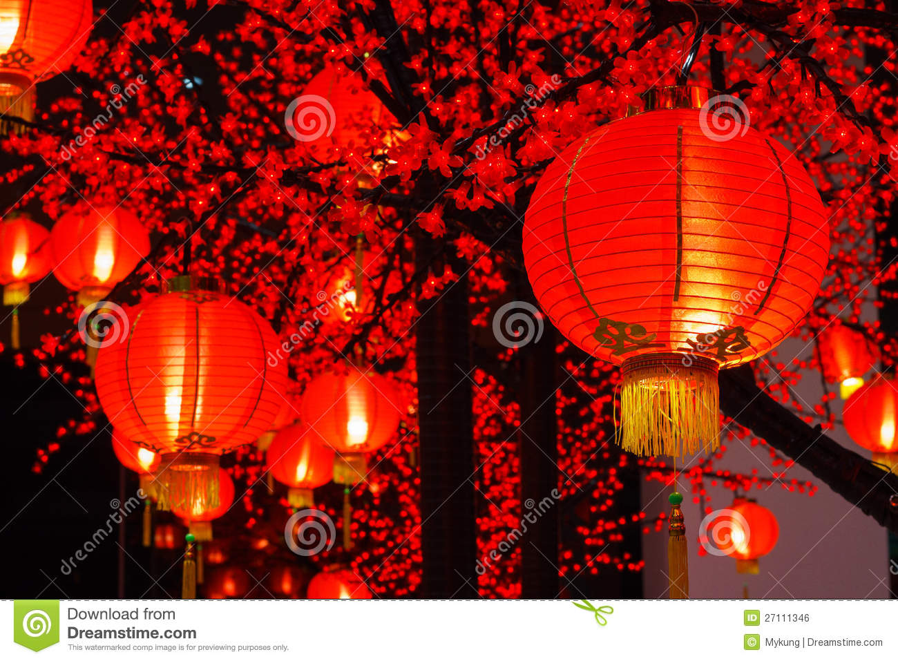 Chinese lanterns are hung in chinese new year festival