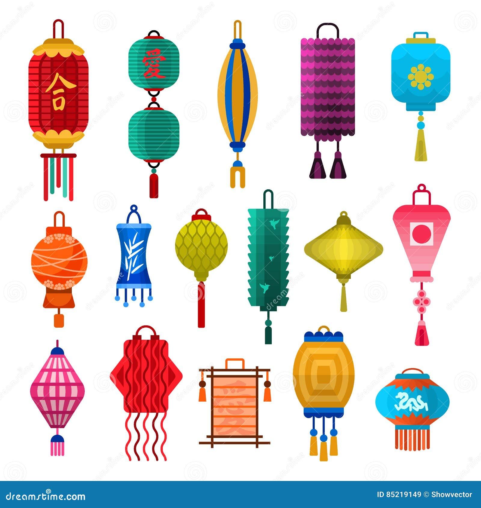 Chinese Lanterns Light Flat Style Vector Illustration ...