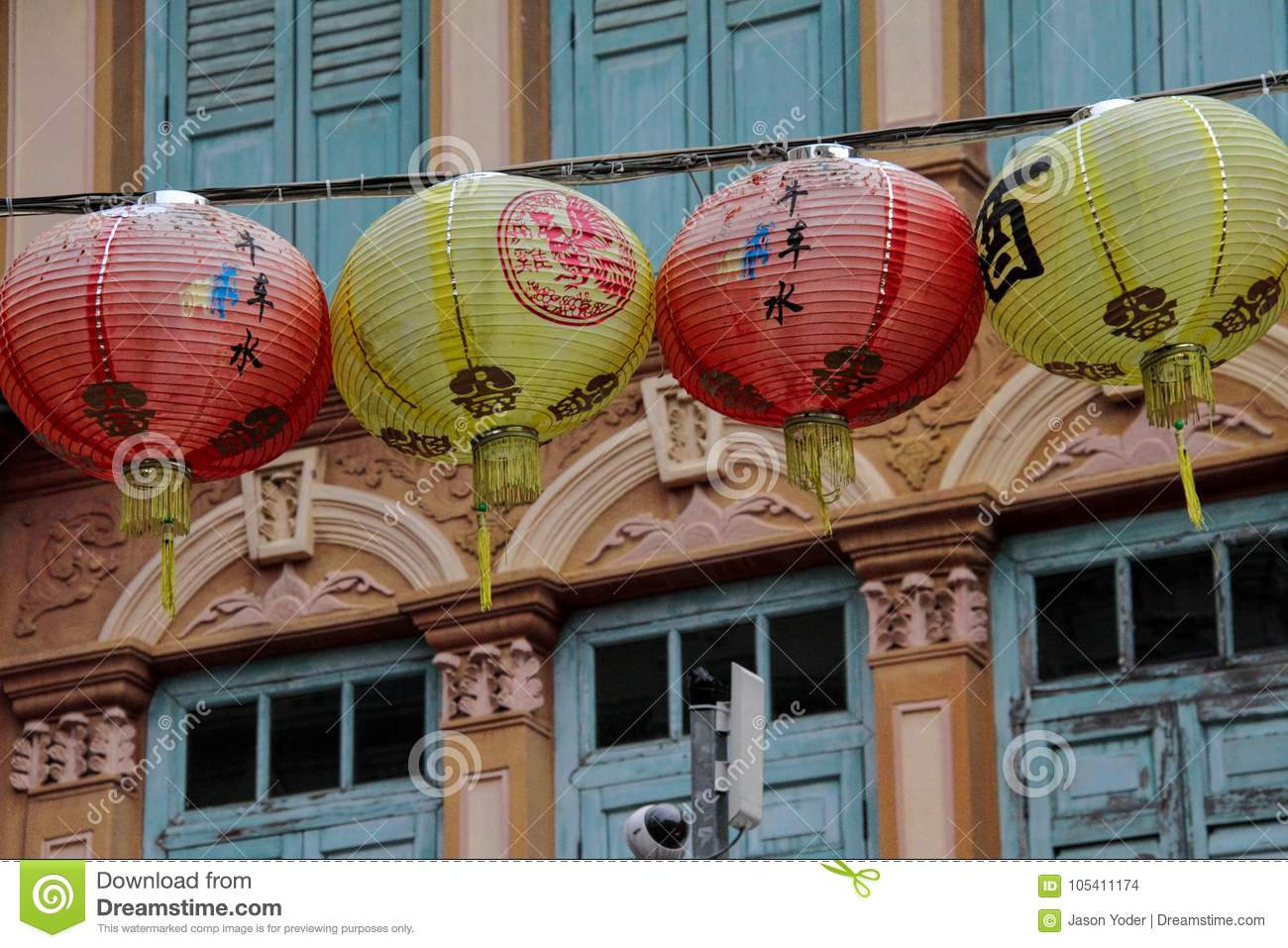 chinese lanterns in singapore street stock photo image of outdoor