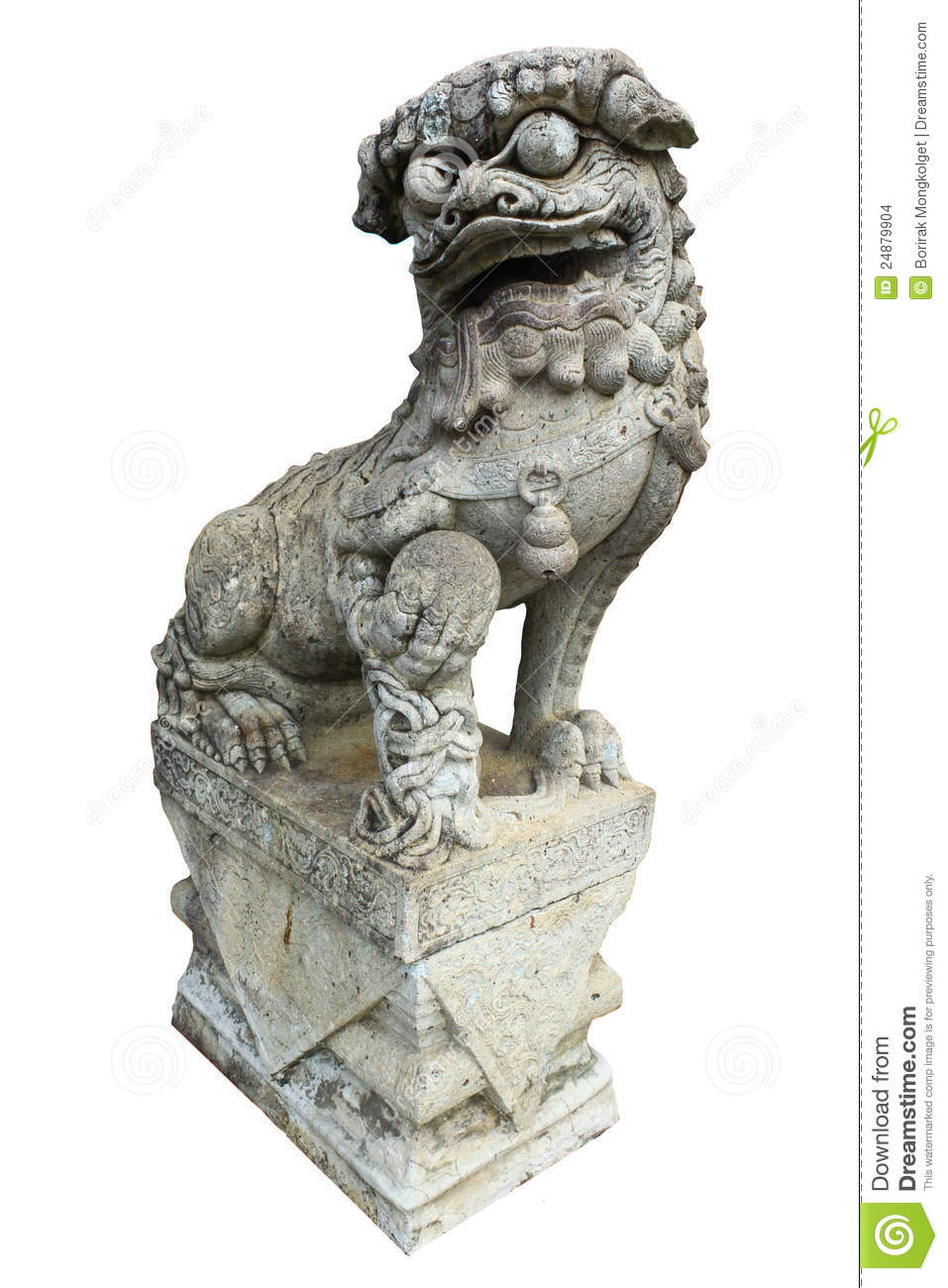 Download A Chinese Lion Statue Isolated Stock Photo - Image of palace, culture: 24879904