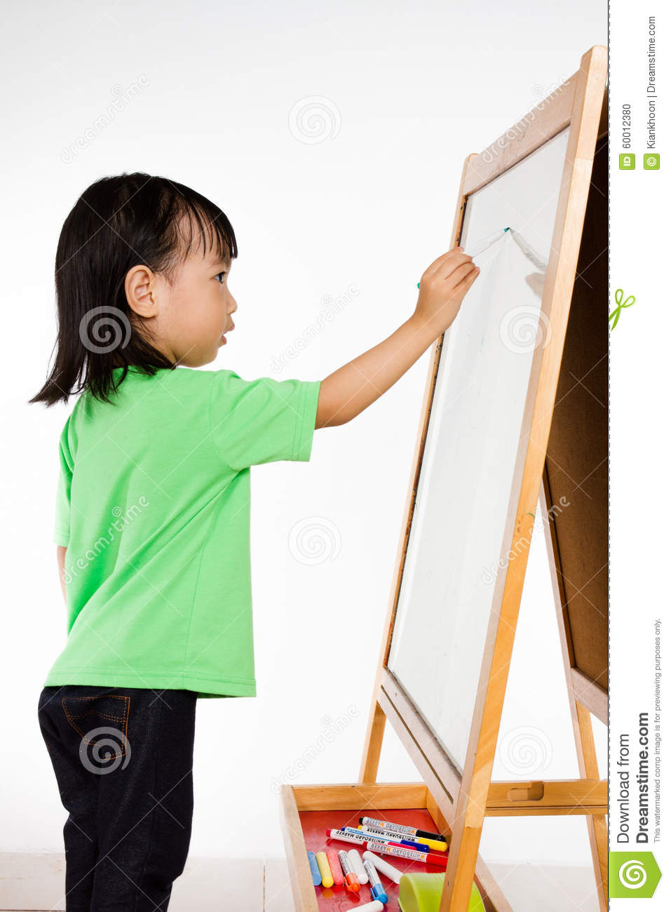 Young asian child writing on a whiteboard royalty free for Cute whiteboard drawings
