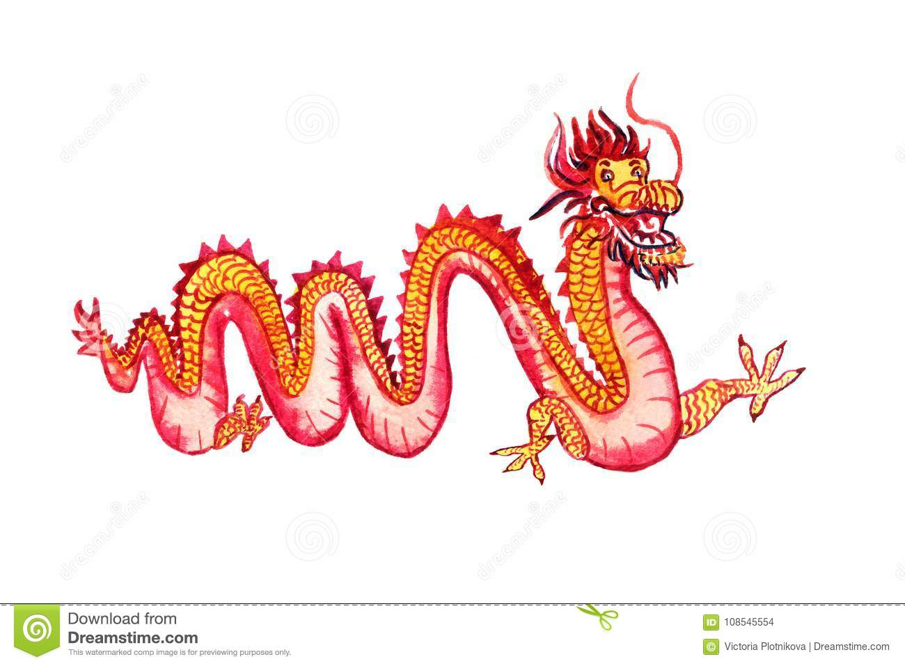 Chinese Long Yellow And Red Dragon Stock Illustration Illustration