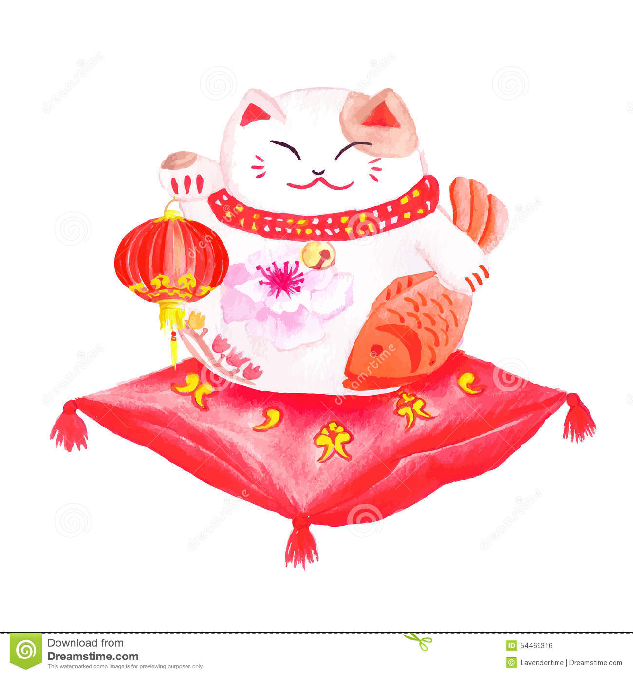 Chinese Lucky Cat Sitting On The Red Pillow And Holding