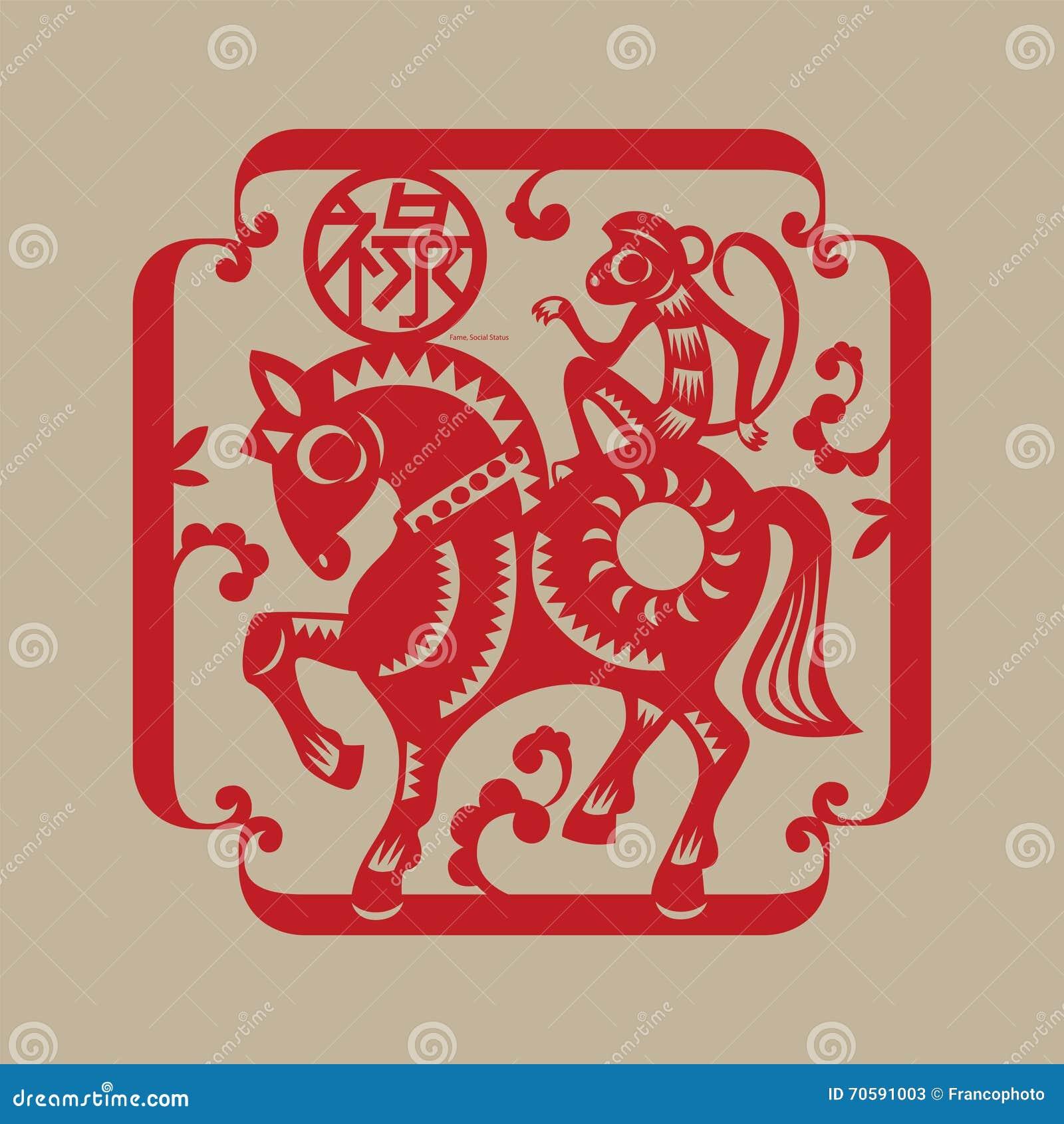 Chinese lucky symbol monkey rides a horse stock vector chinese lucky symbol monkey rides a horse buycottarizona