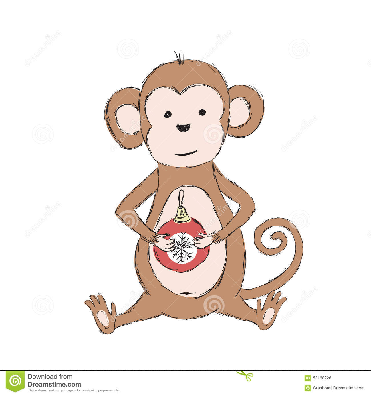 2016 Chinese Lunar New Year Monkey Holding Christmas Ball in Paws ...