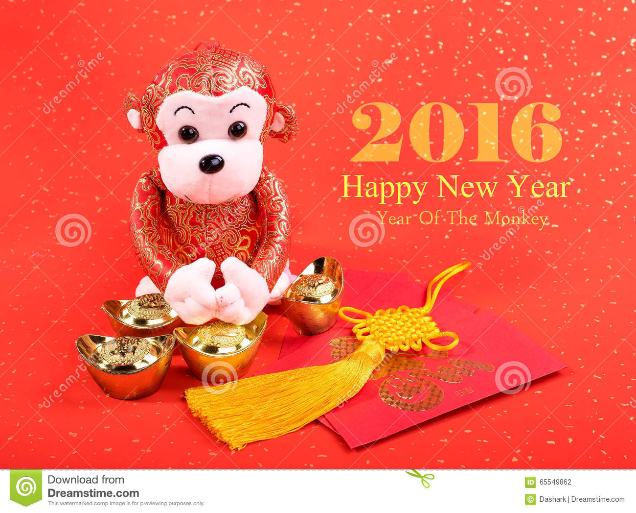 Chinese Lunar New Year Ornaments Toy Of Monkey Stock Photo - Image ...