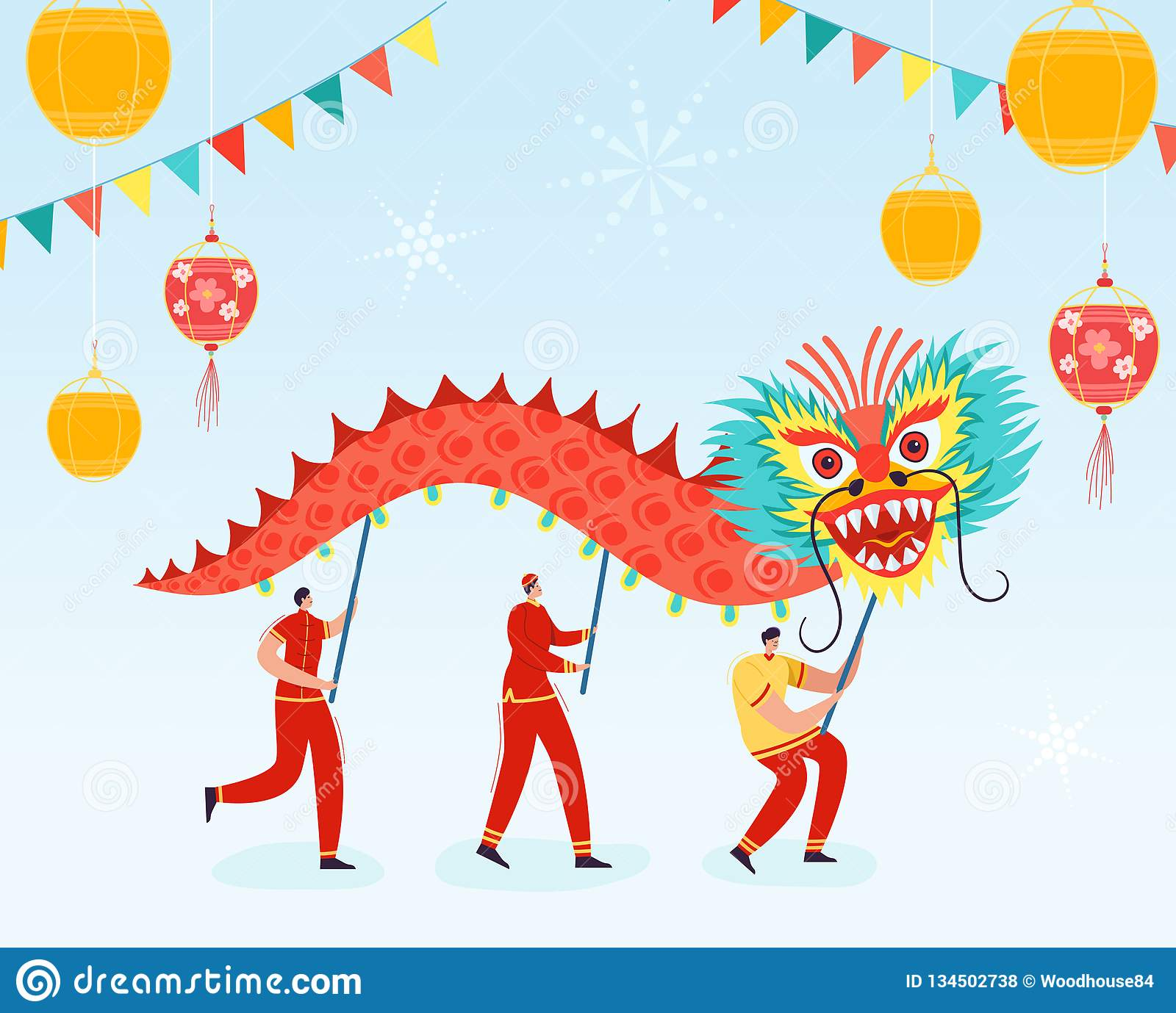 54306279a Chinese Lunar New Year People holding Dragon, Lion dance characters wearing  china traditional costume on parade or carnival. Vector illustration