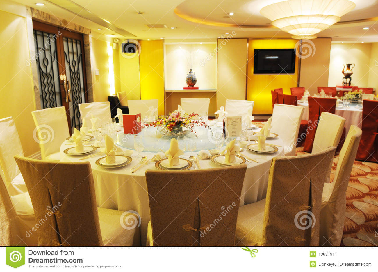 Chinese Luxury Restaurant Banquet Stock Image