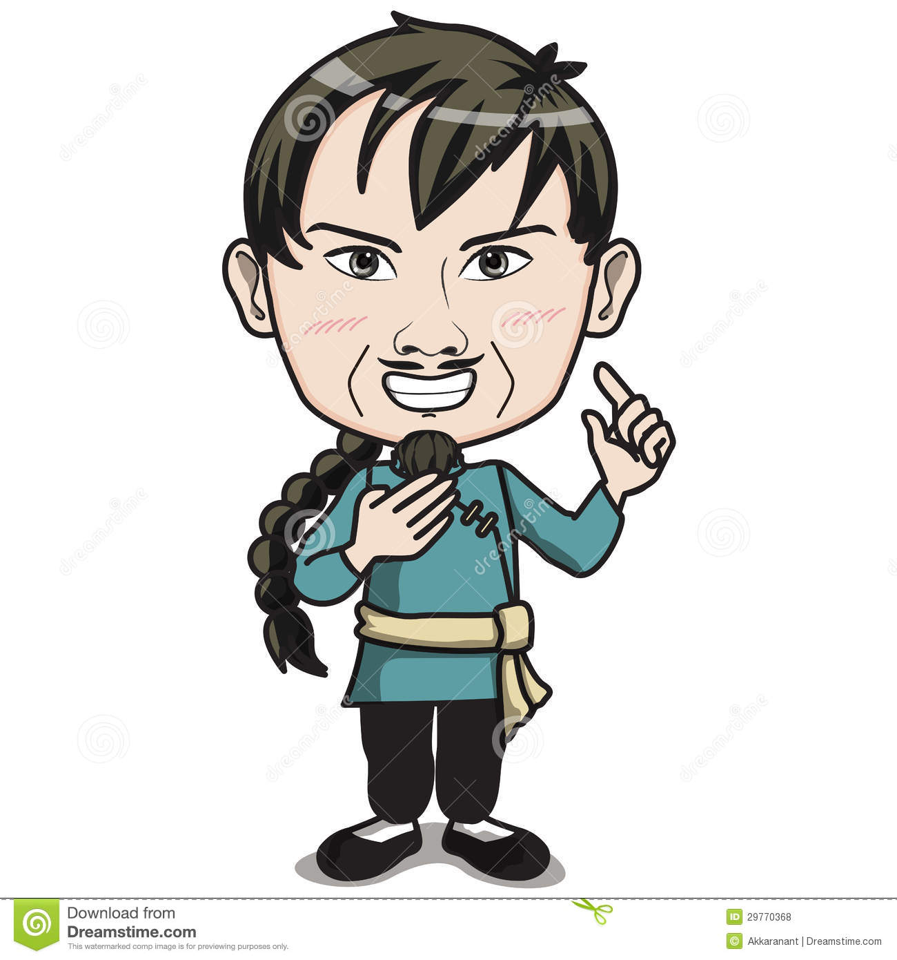 Chinese male character with pigtail hair style, wearing Kungfu suit ...