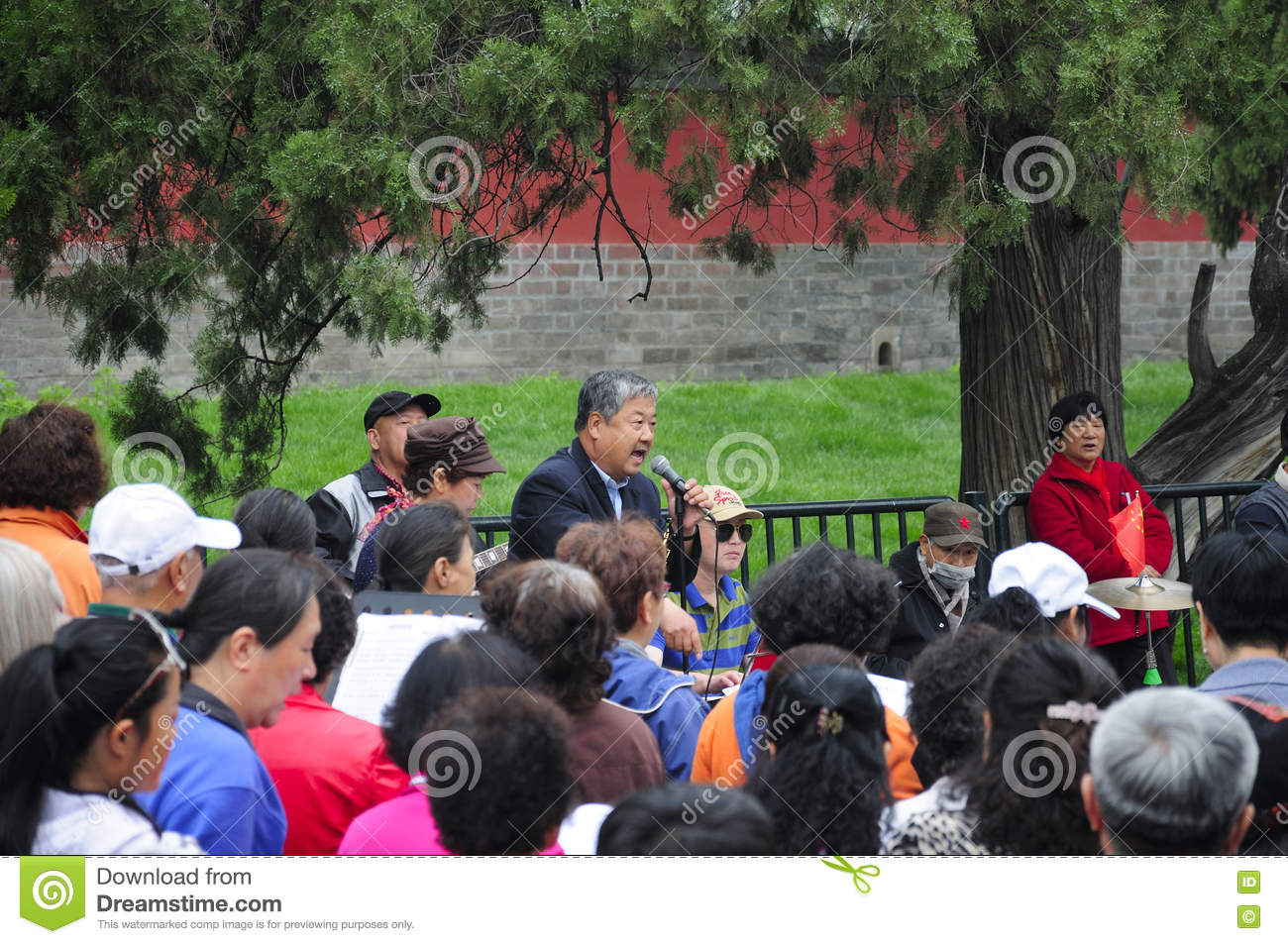 Chinese Man Singing In The Park Editorial Stock Photo