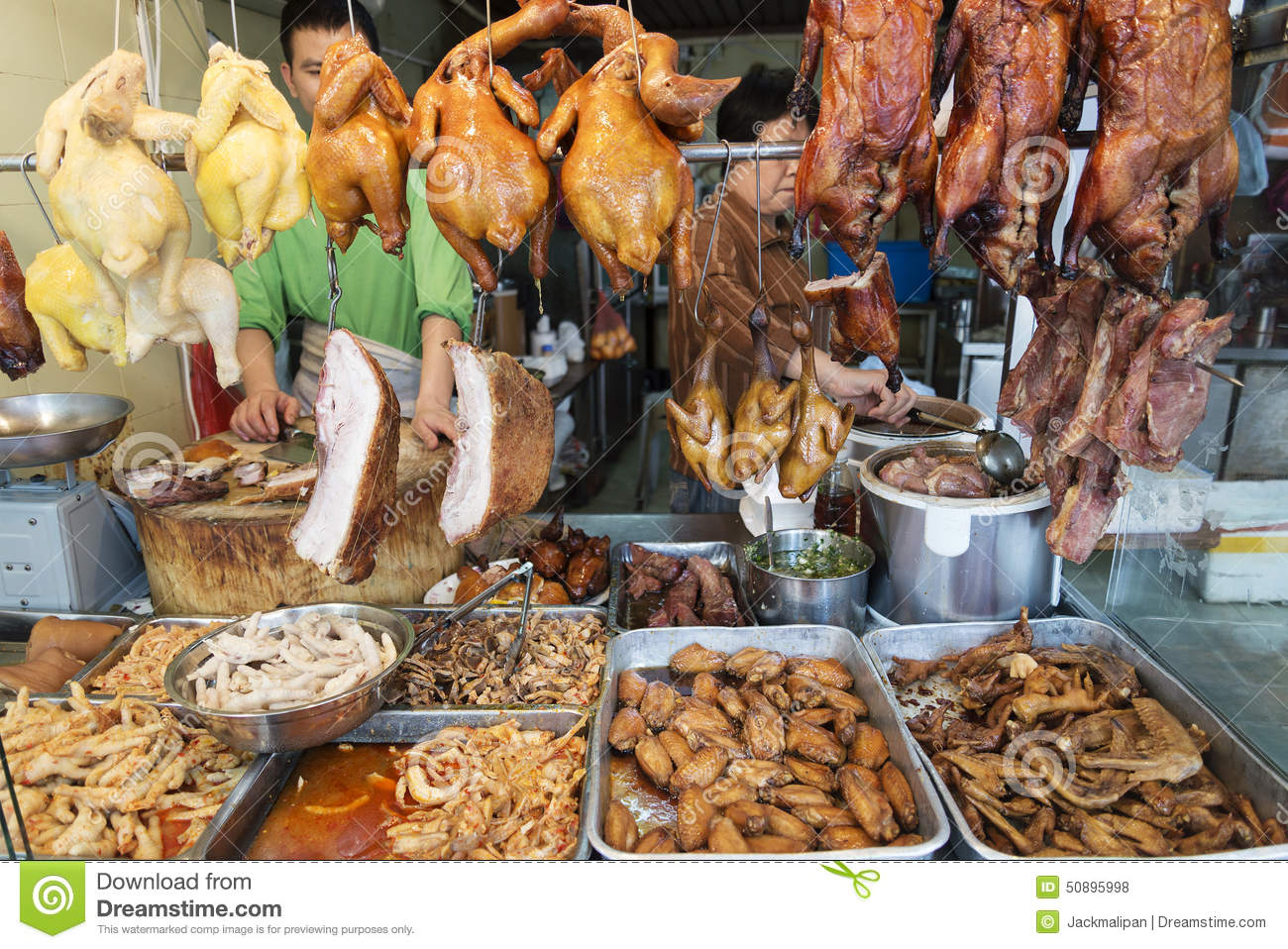 Editorial Stock Photo: Chinese meat food at butcher shop in macau ...