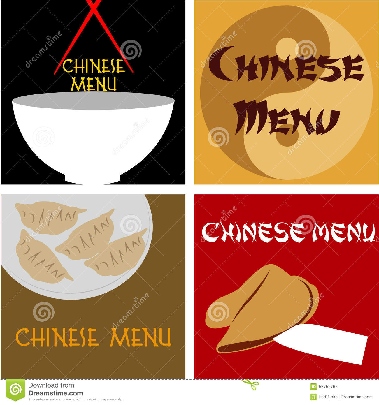 chinese menu stock vector illustration of fortune symbol 58759762