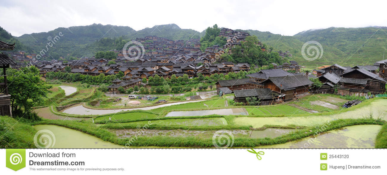 The chinese miao nationality wooden house panorama
