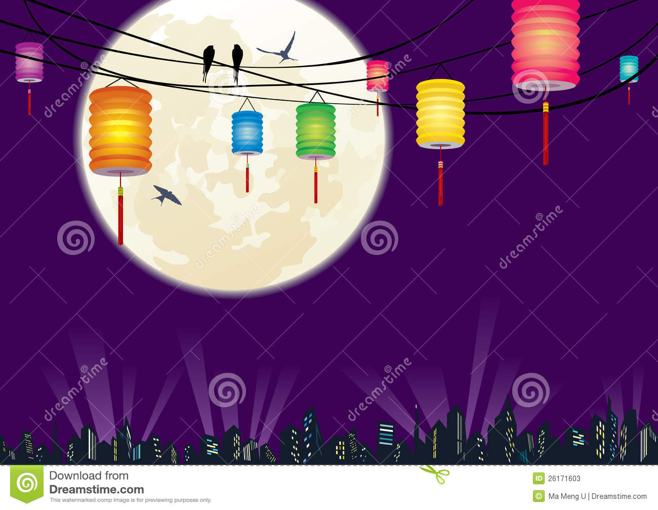 Mid autumn festival vector background with lantern and plum the chinese mid autumn festival city night scene b stock photos toneelgroepblik Image collections