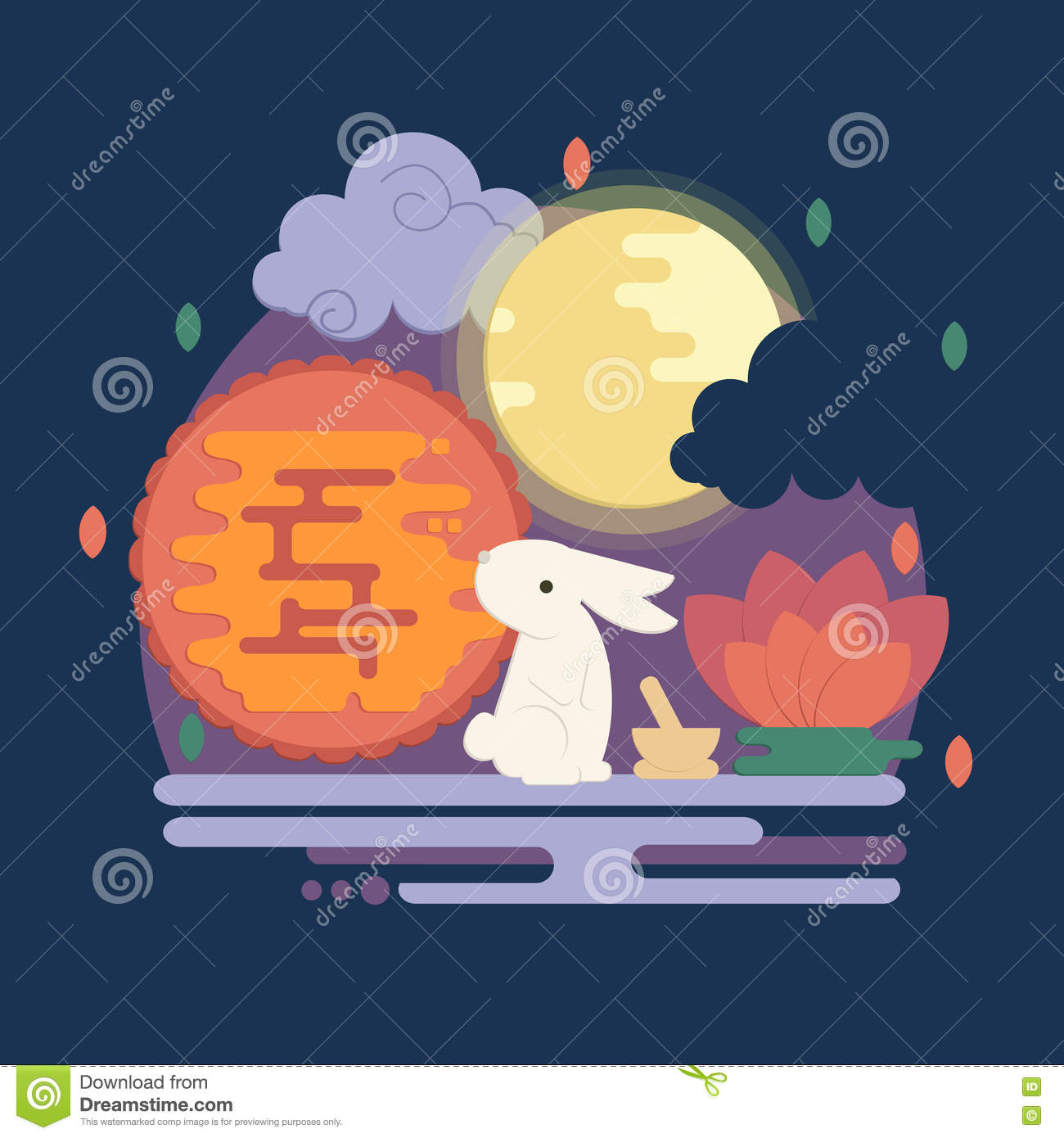 Download Chinese Mid Autumn Festival Illustration In Flat Style Stock Vector