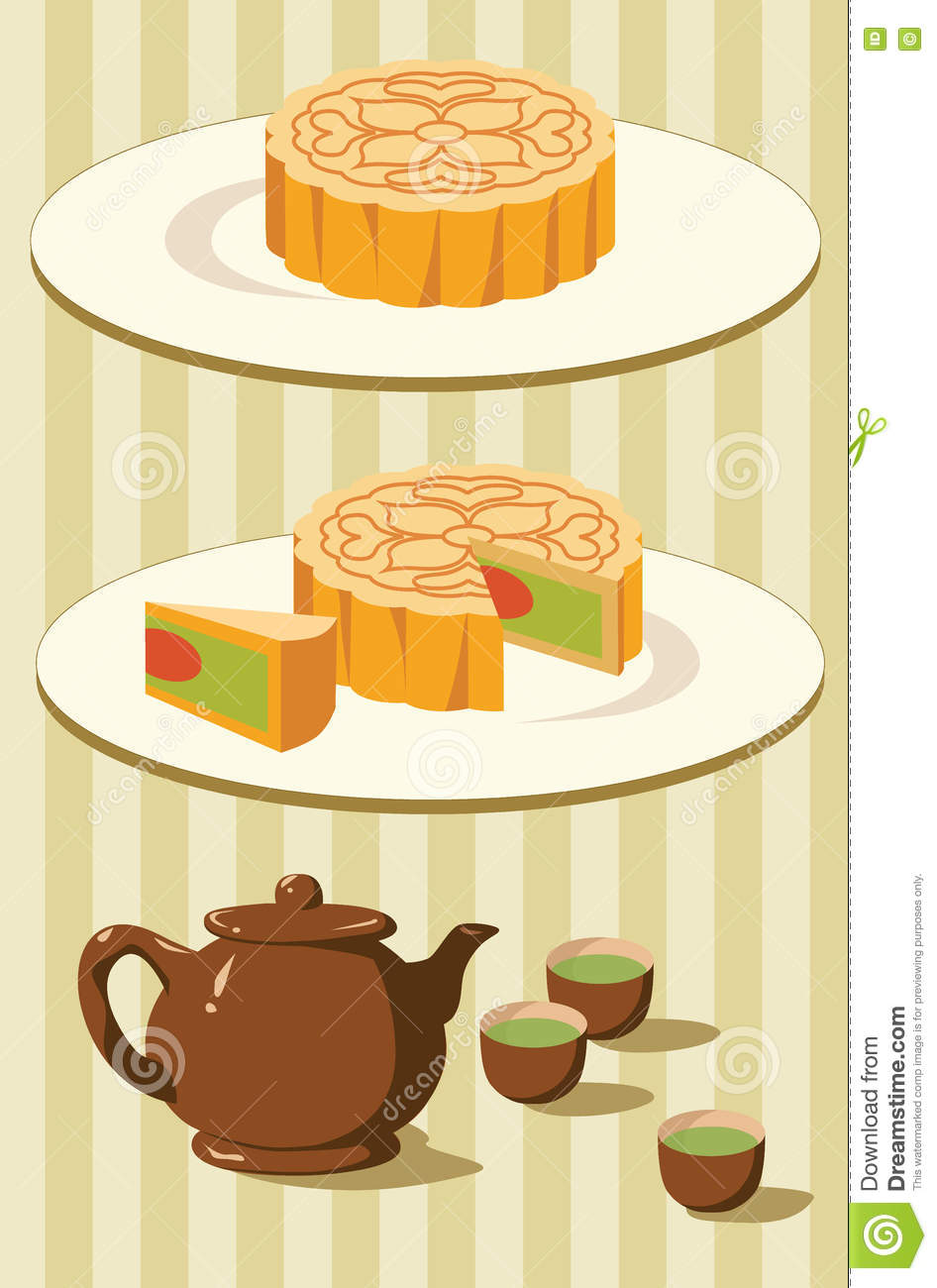 Chinese Moon Cake And Tea For Mid Autumn Festival Stock ...
