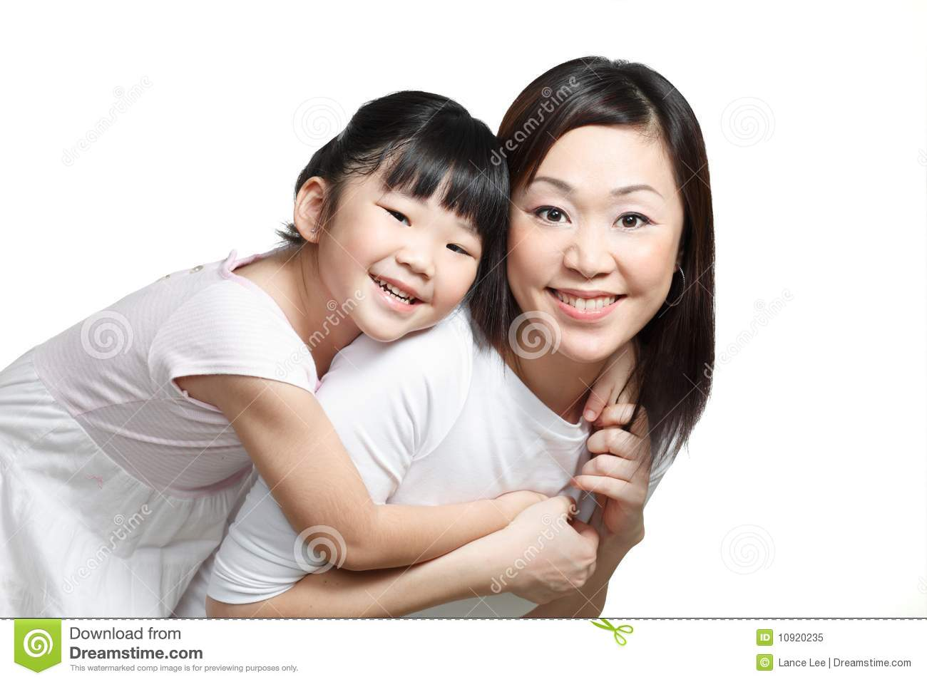Chinese mother and daughter smiling and playing