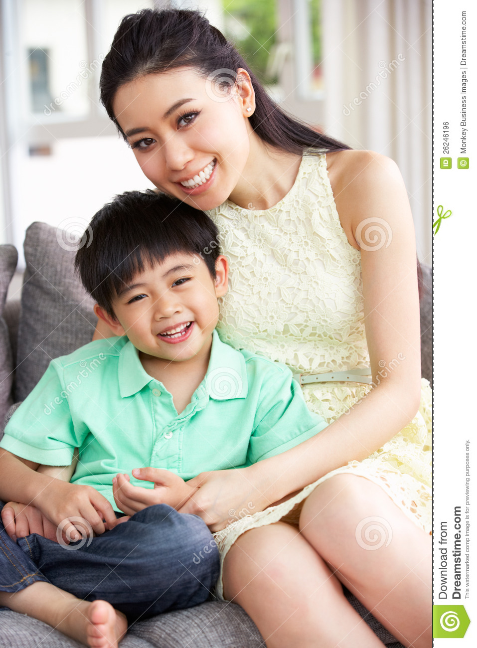chinese mother and son at home together stock photo image of home portrait 26246196. Black Bedroom Furniture Sets. Home Design Ideas