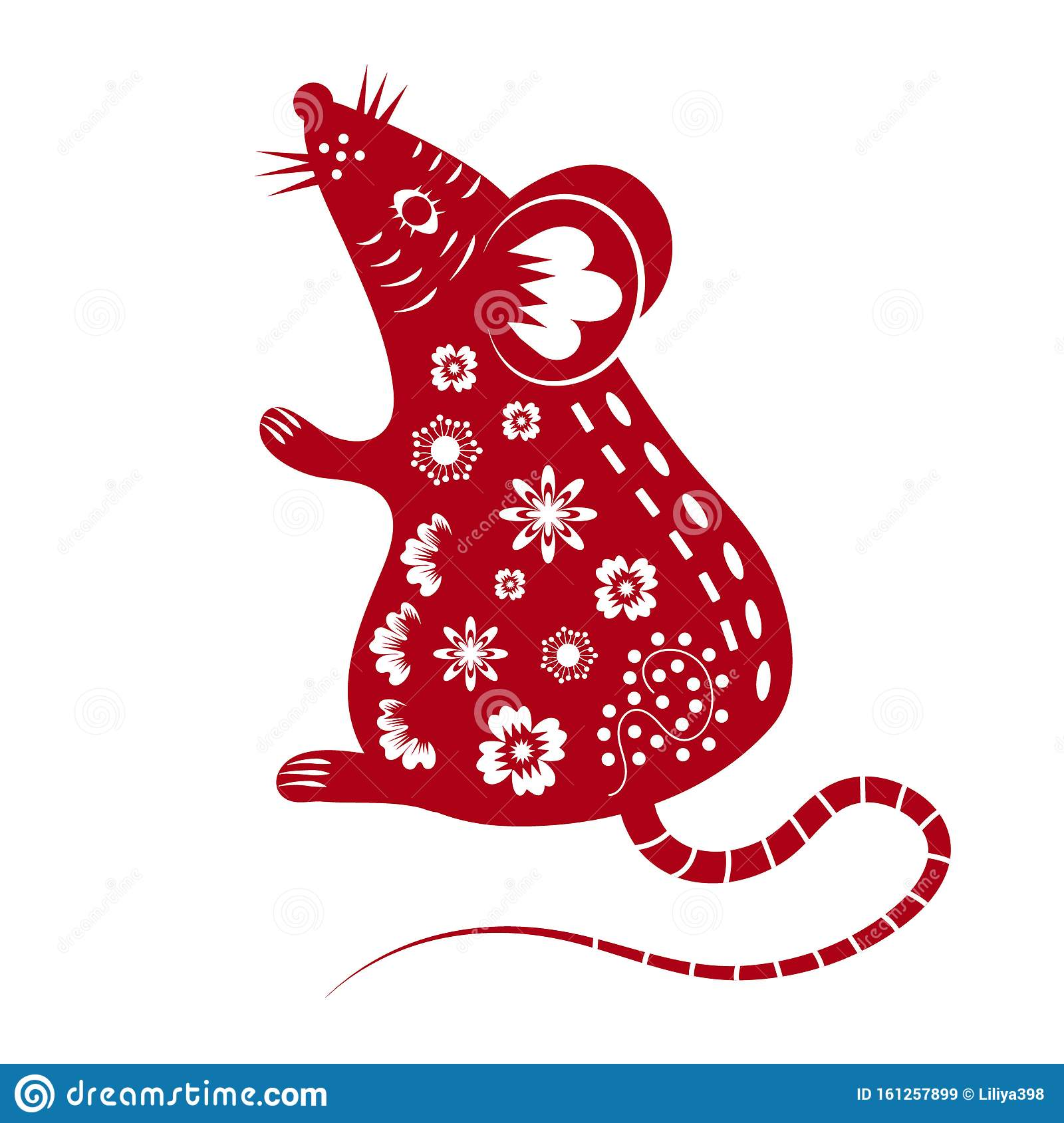 Chinese Mouse In Traditional Paper Cut Style. Happy ...