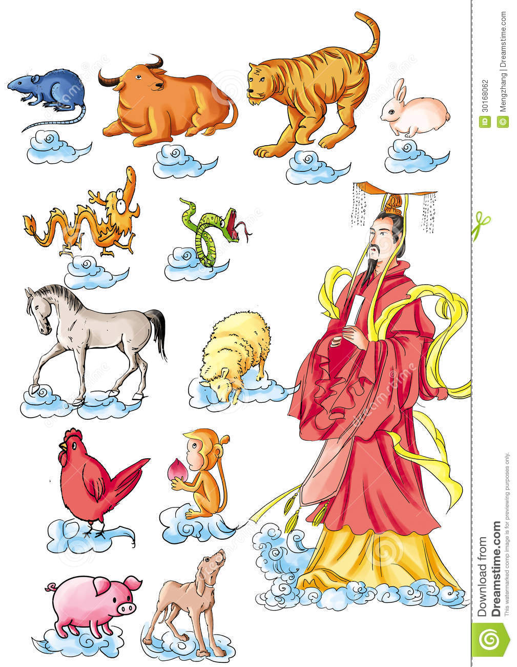 cf1fd846c CHINESE MYTHS&LEGENDS:Jade Emperor appoints twelve Chinese zodiac signs:  rat ox tiger rabbit dragon snake horses sheep dog, pig monkey Chicken
