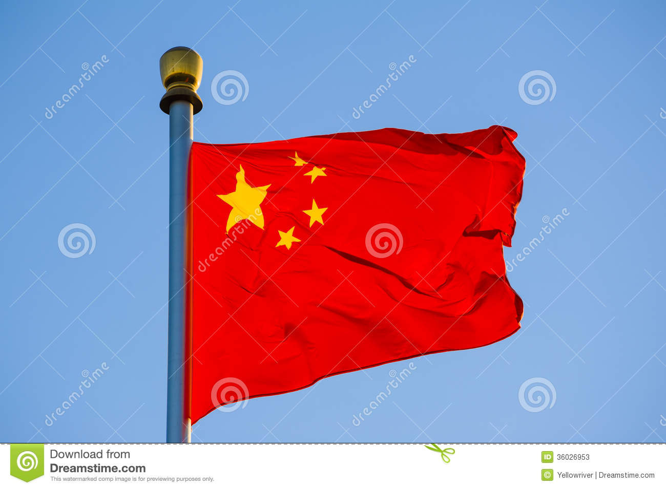 Chinese National Flag Aflutter In The Wind Stock Image