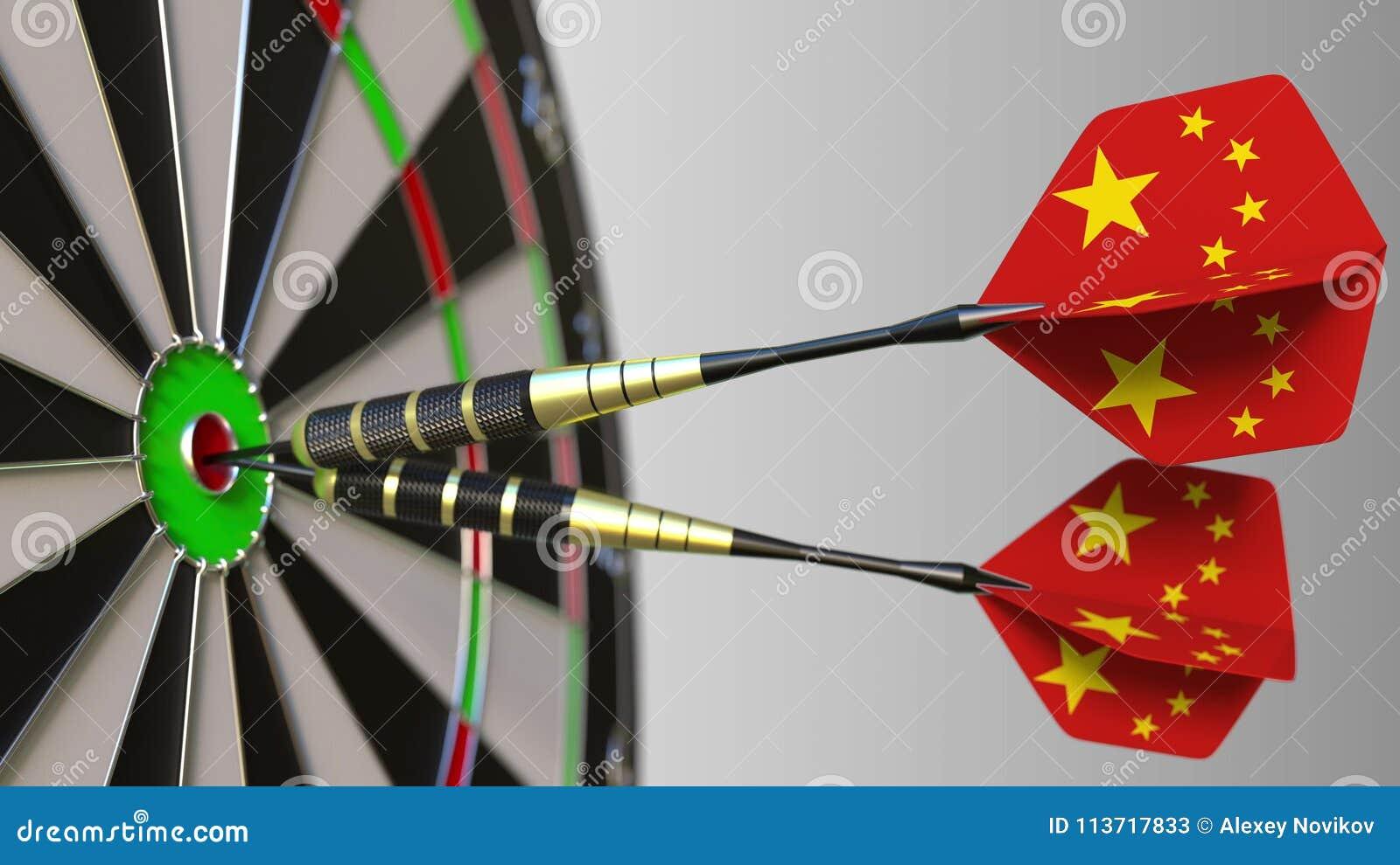 Chinese nationale voltooiing Vlaggen van China op pijltjes die bullseye raken Het conceptuele 3d teruggeven