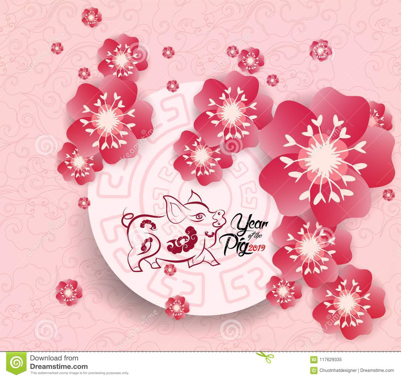 chinese new year 2019 background blooming sakura branches