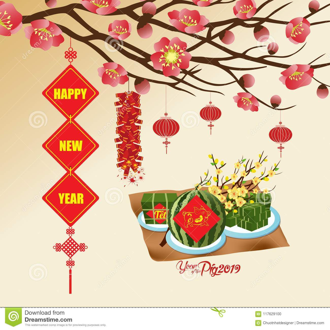 chinese new year 2019 background blooming sakura branches vietnamese new year translation