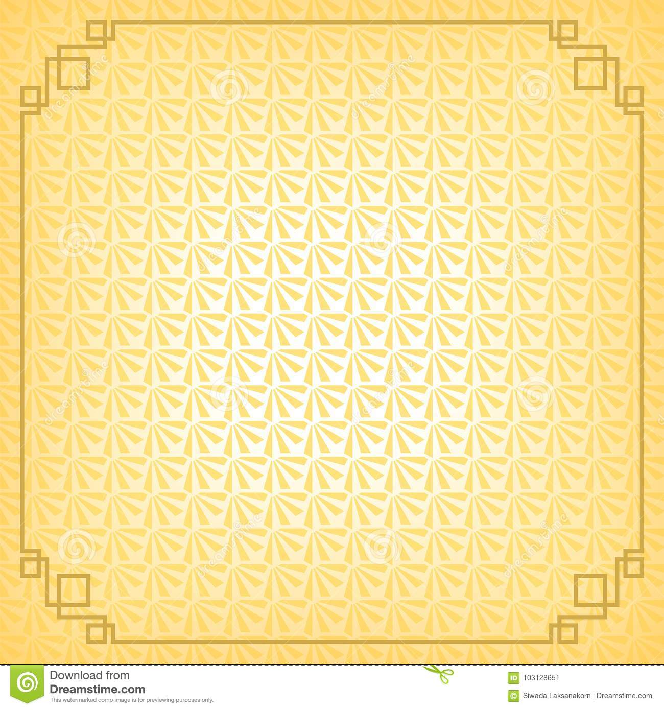 yellow chinese little fan abstract background with gold border