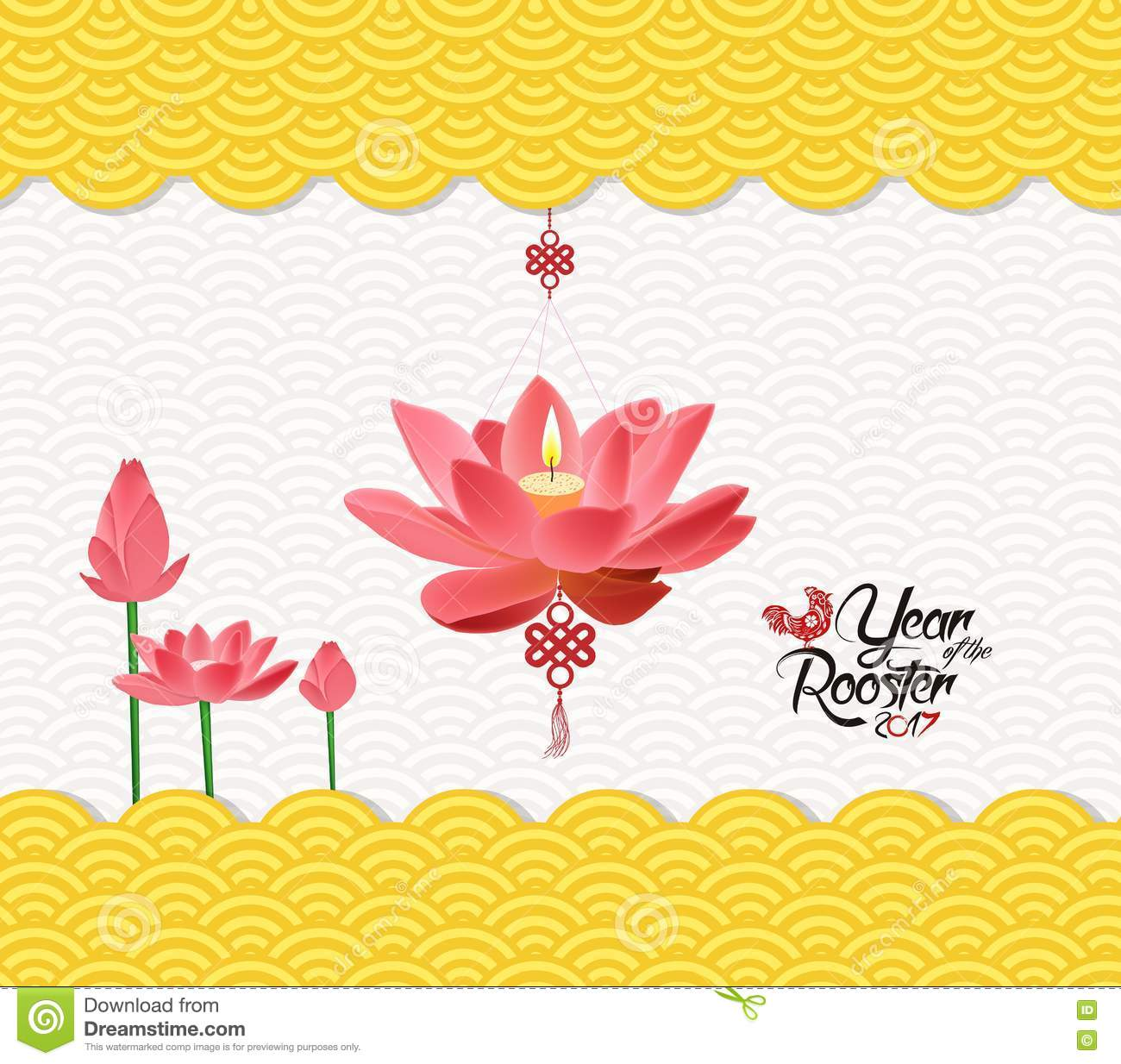 chinese new year background with lotus and rooster
