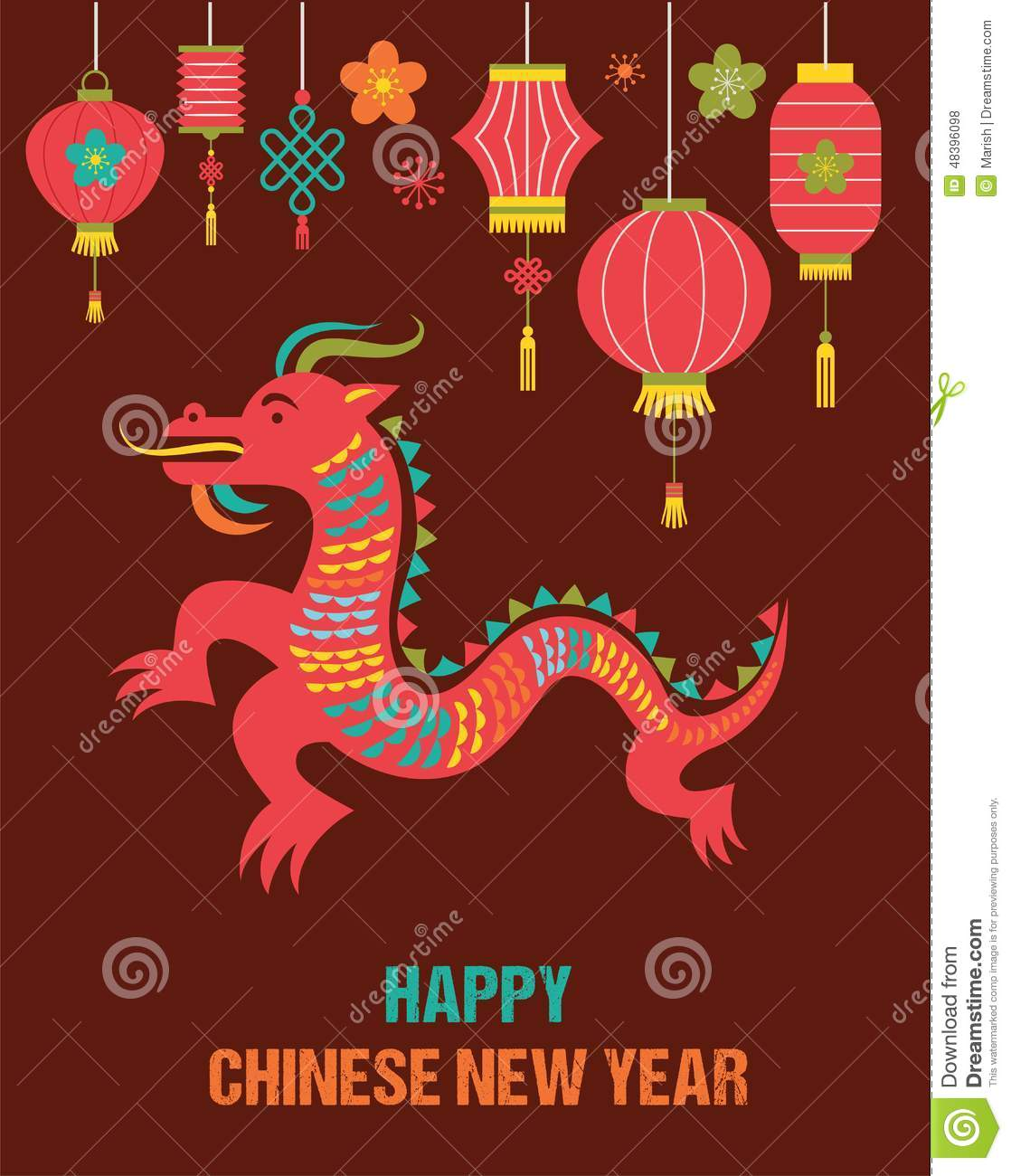 Chinese new year background with red dragon stock vector image