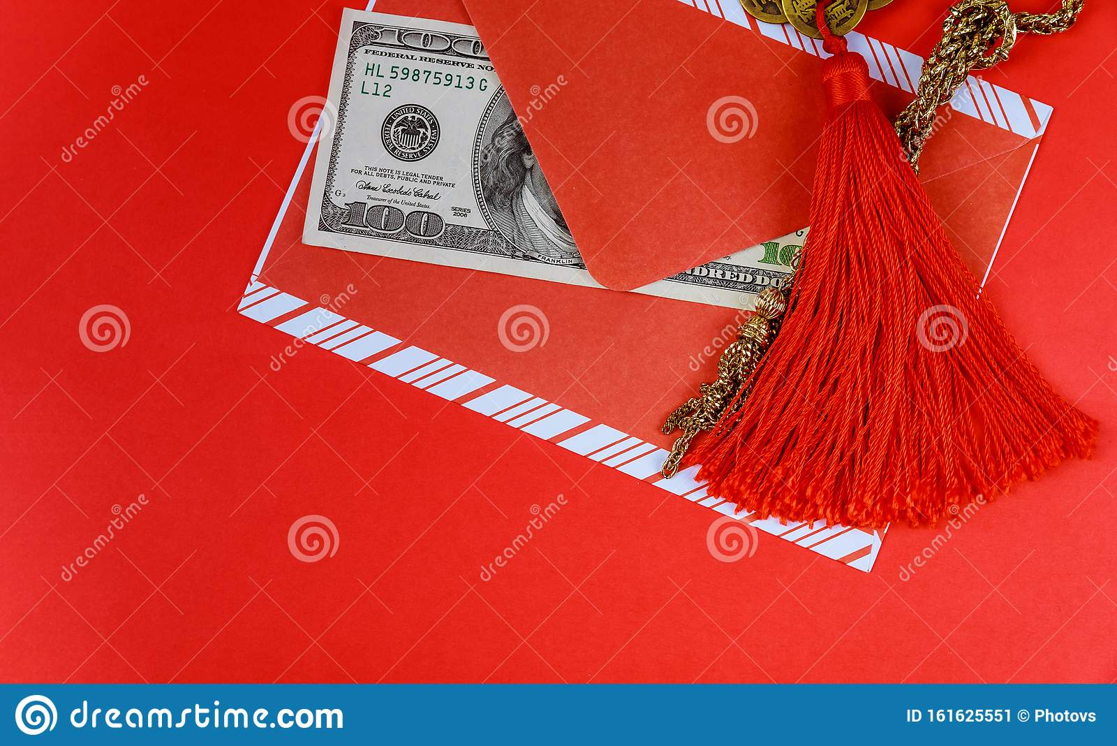 Chinese New Year background. US dollars Chinese good luck symbol on red