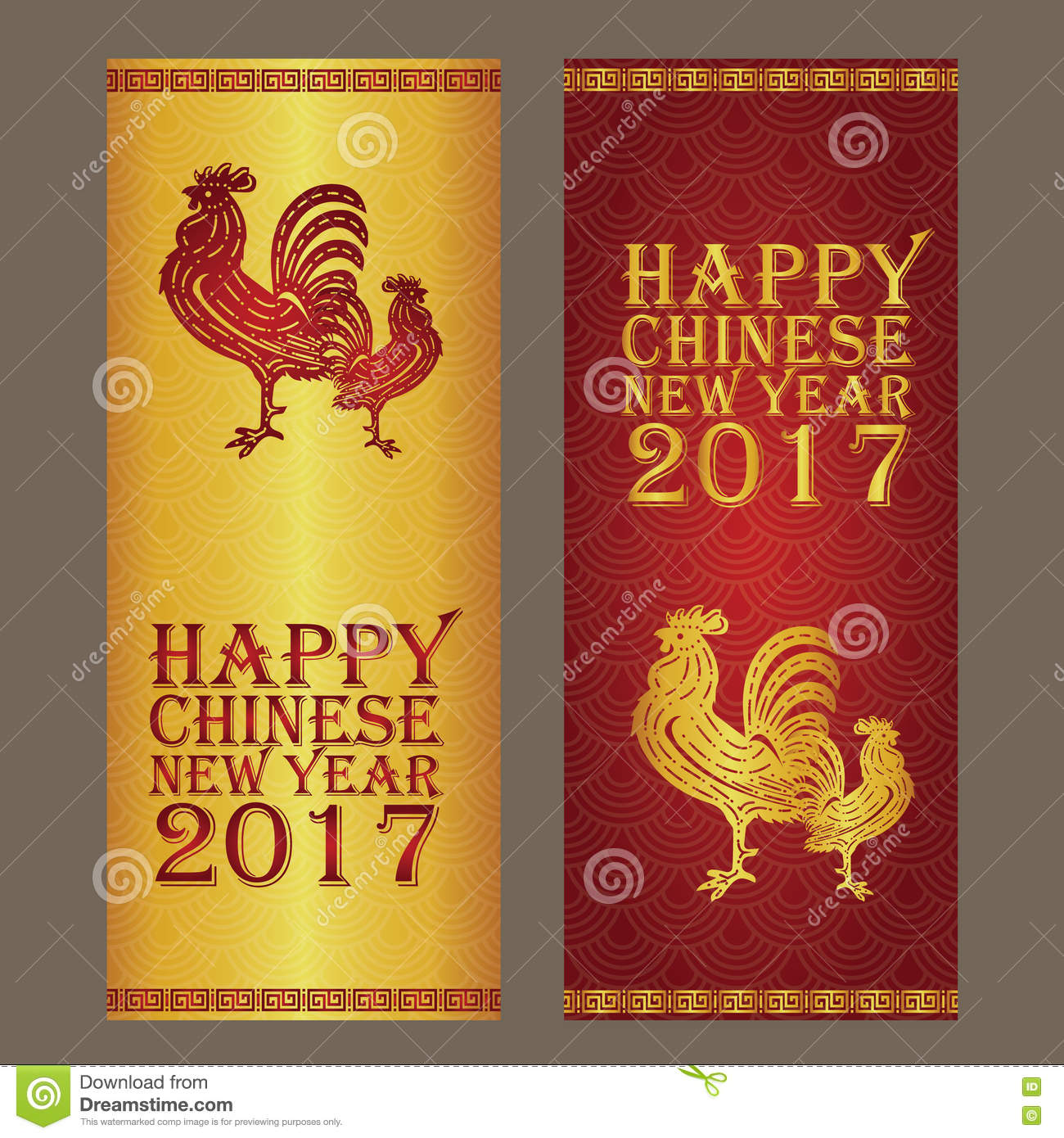 chinese new year banner and card design gold and red background color