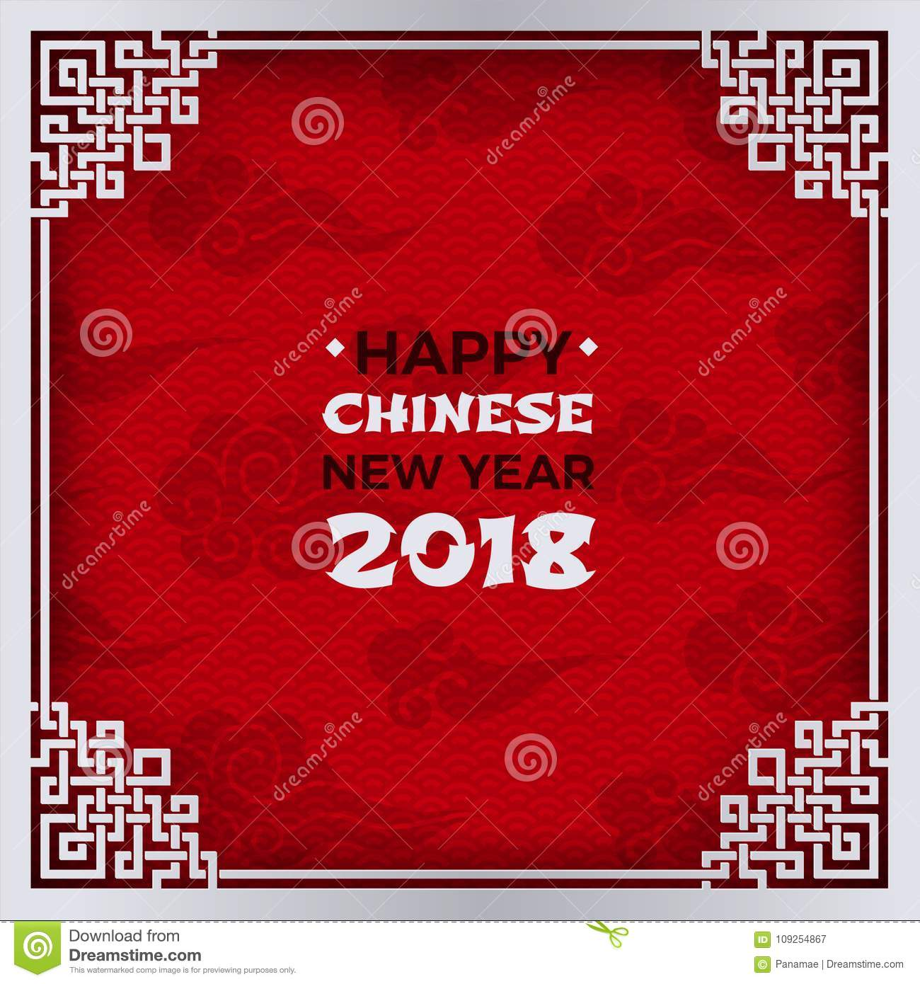 chinese new year 2018 banner white tracery ornate frame with congratulation text on red pattern