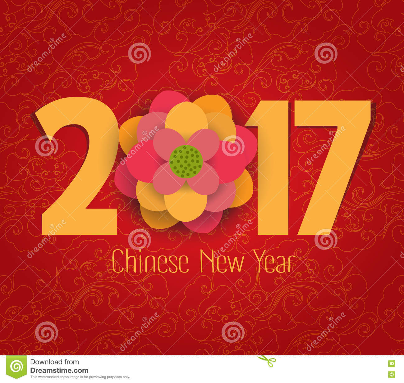 chinese new year element  blooming flower design cartoon vector