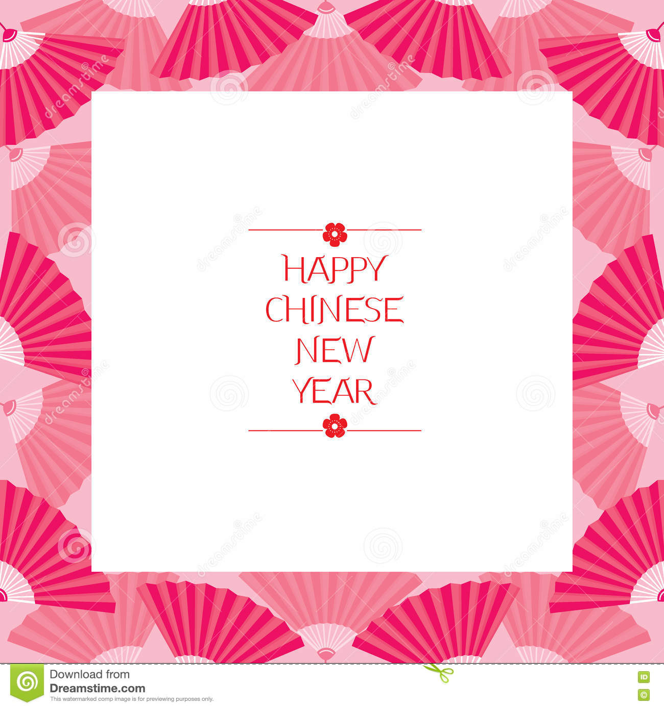 chinese new year border with fan