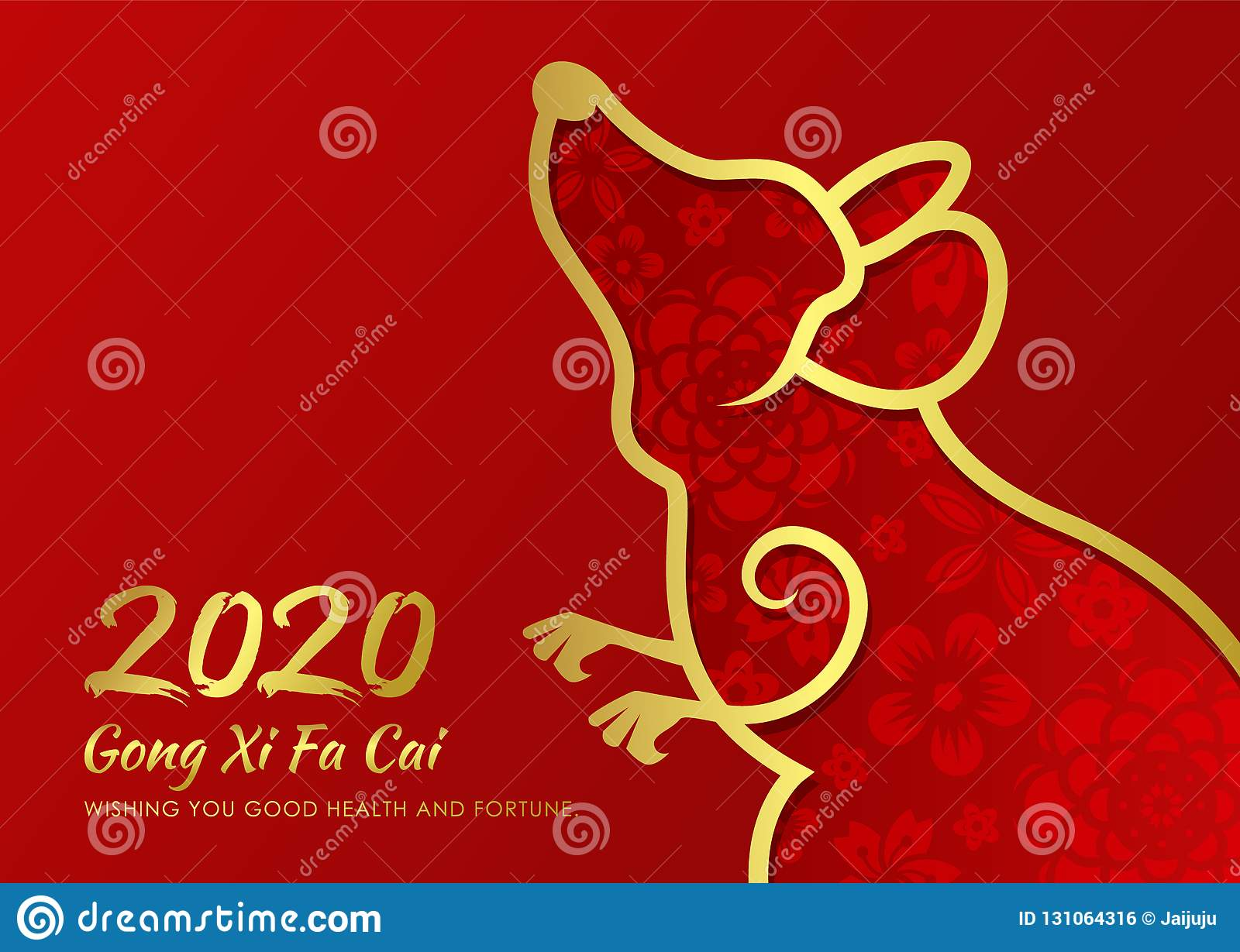 chinese new year 2020 card with abstract gold border line rat zodiac and abstract flower texture