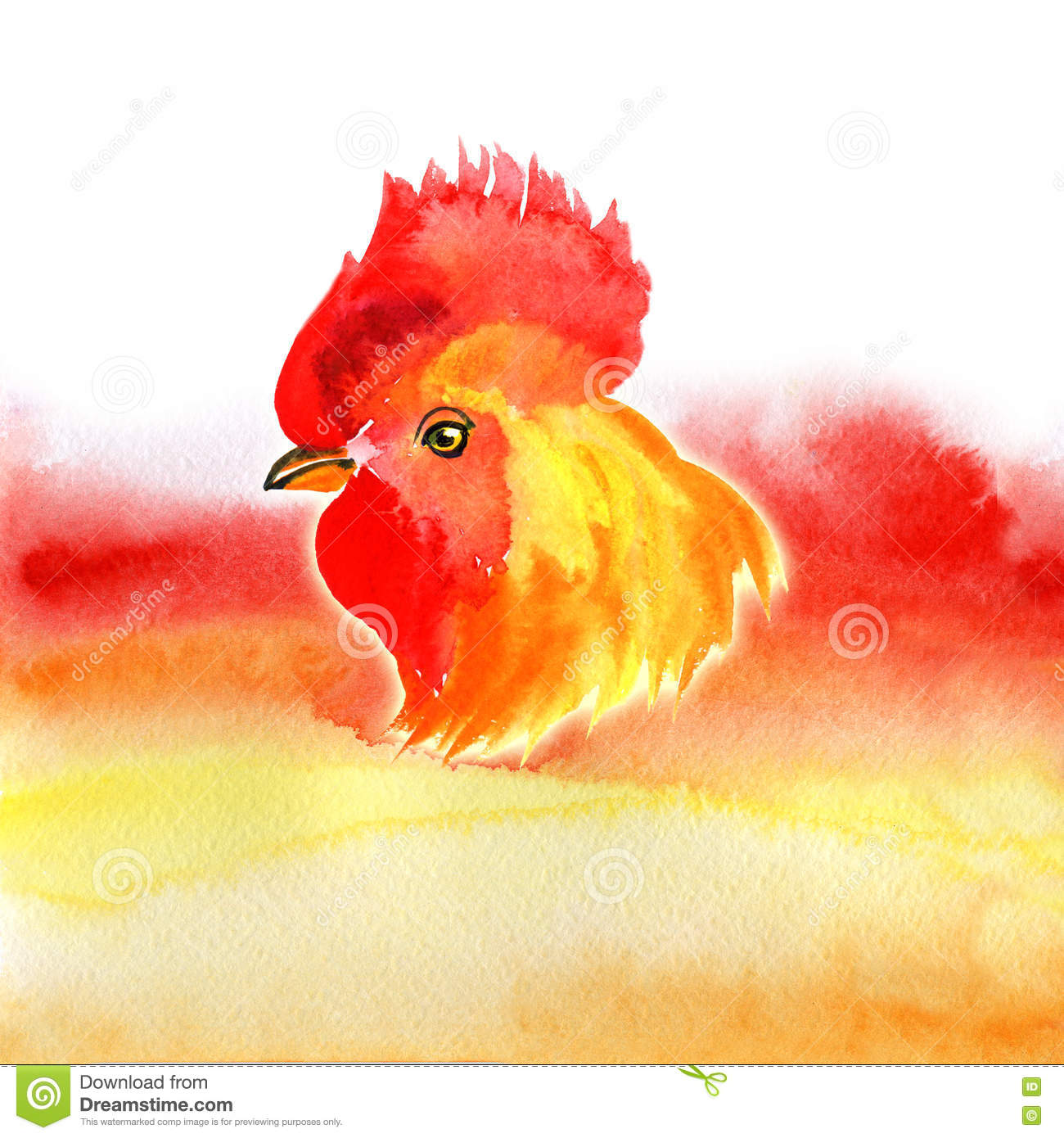 chinese new year card design with rooster zodiac symbol of 2017 year on watercolor background chinese translation happy chinese new year