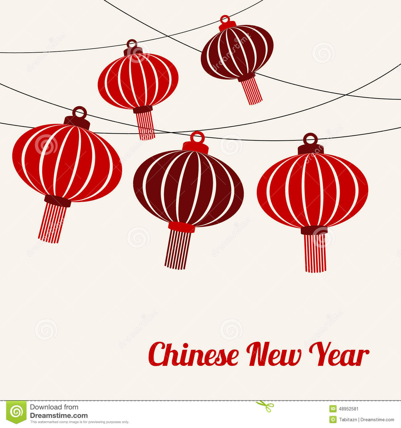 Chinese New Year Card With Garlands Of Red Lanterns, Vecto ...