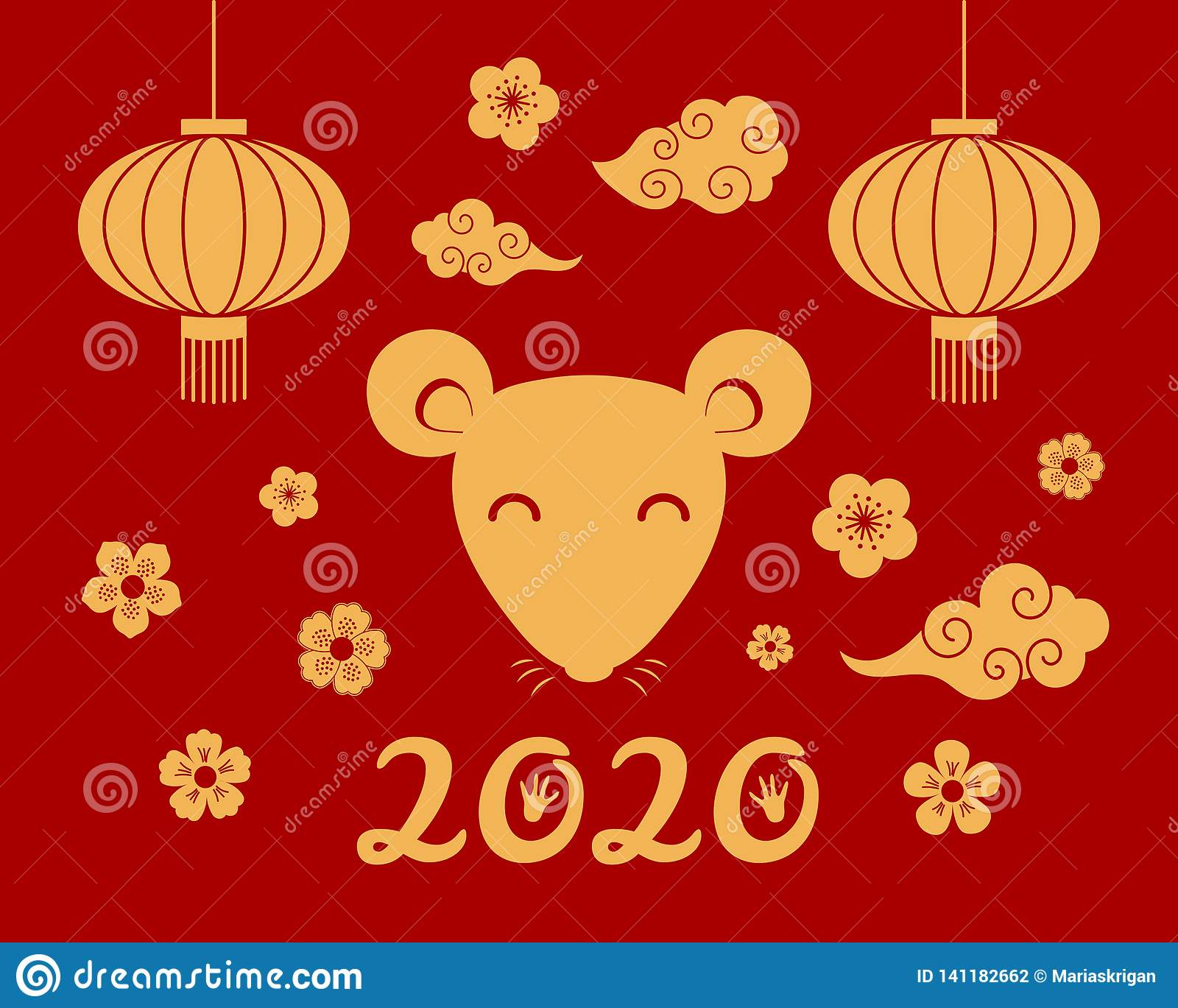 2020 Chinese New Year.2020 Chinese New Year Card Stock Vector Illustration Of