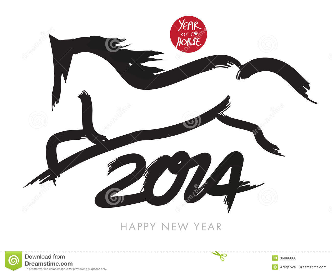 Chinese New Year Card With A Horse Royalty Free Stock