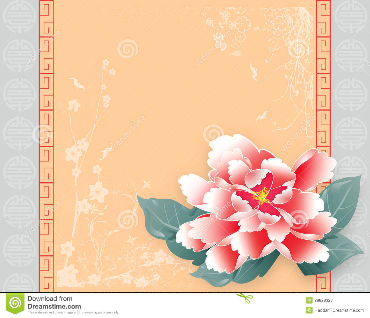 Chinese New Year Peony Greeting Card Template.