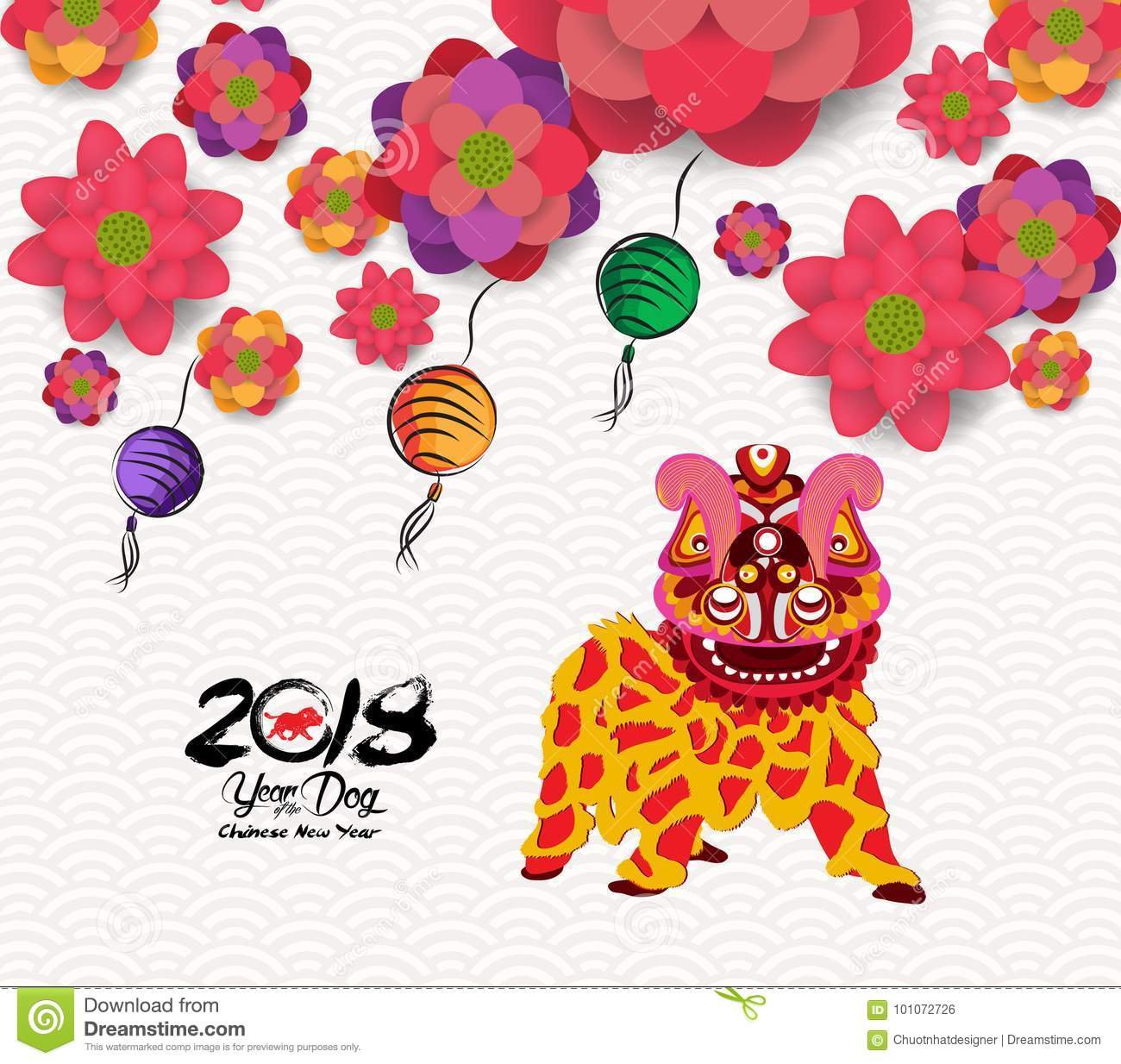 Chinese New Year Card With Plum Blossom And Lion Dance In ...
