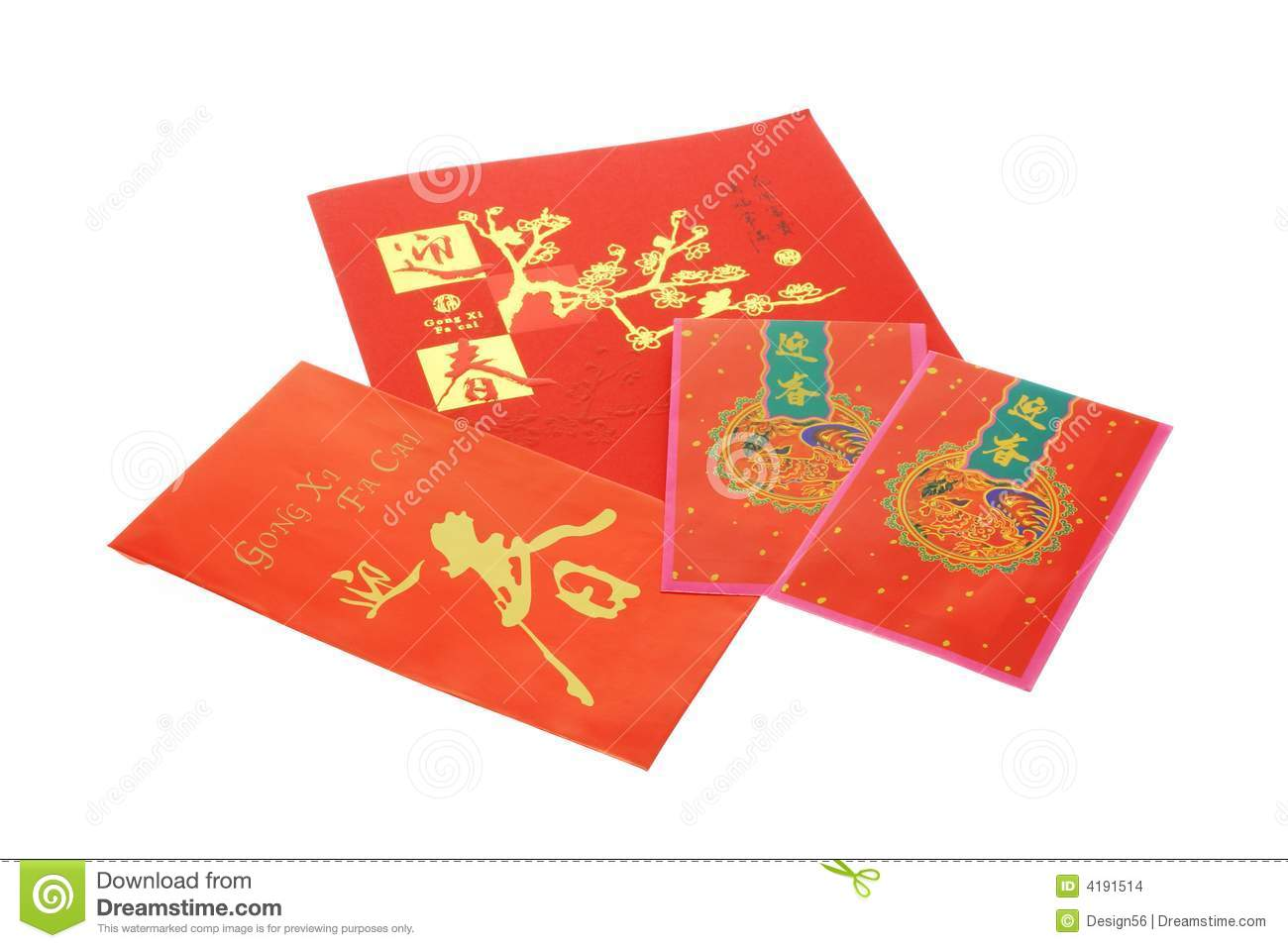 chinese new year card and red packets stock photo