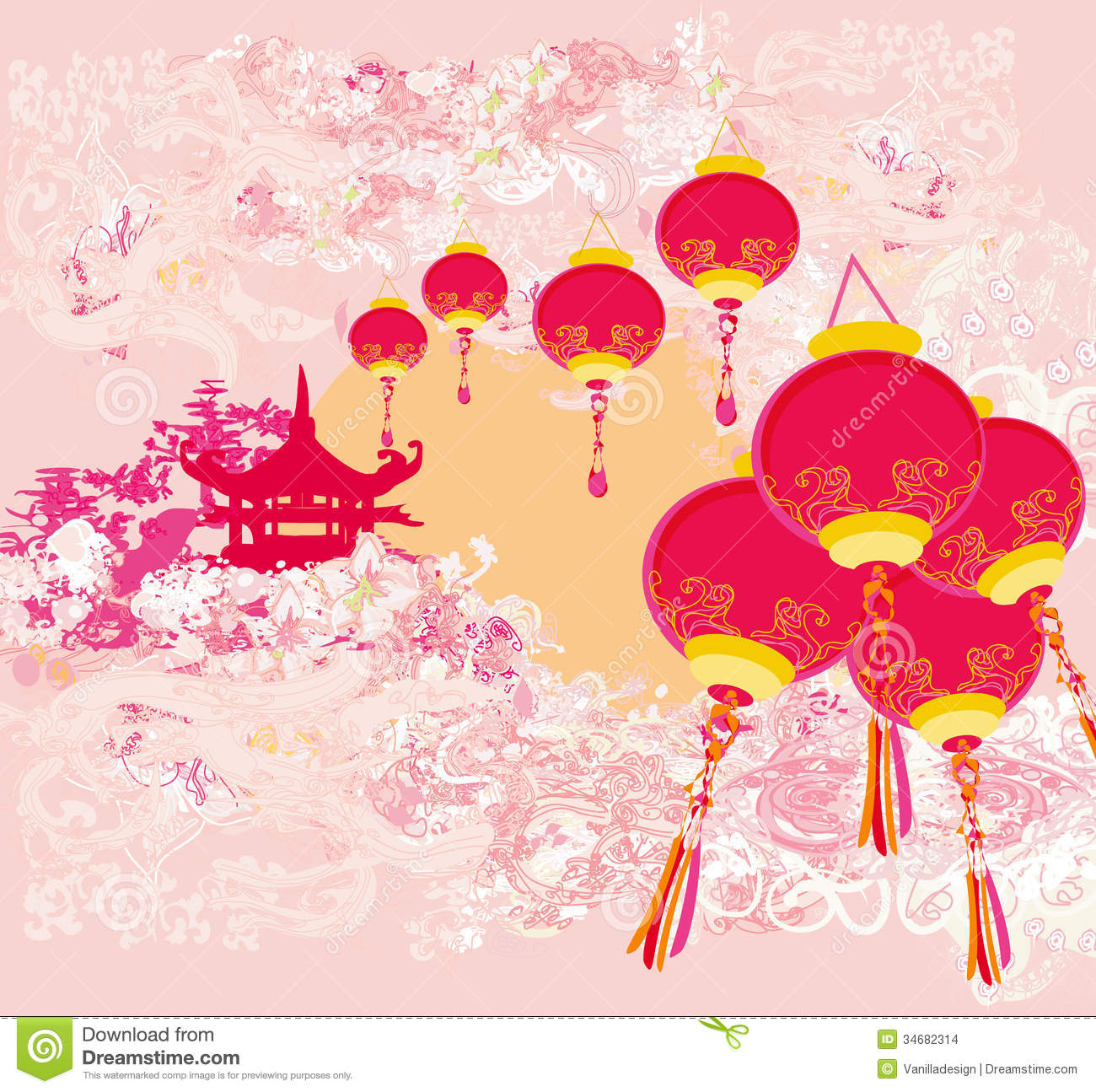 Chinese Calendar Illustration : Chinese new year card traditional lanterns and asian